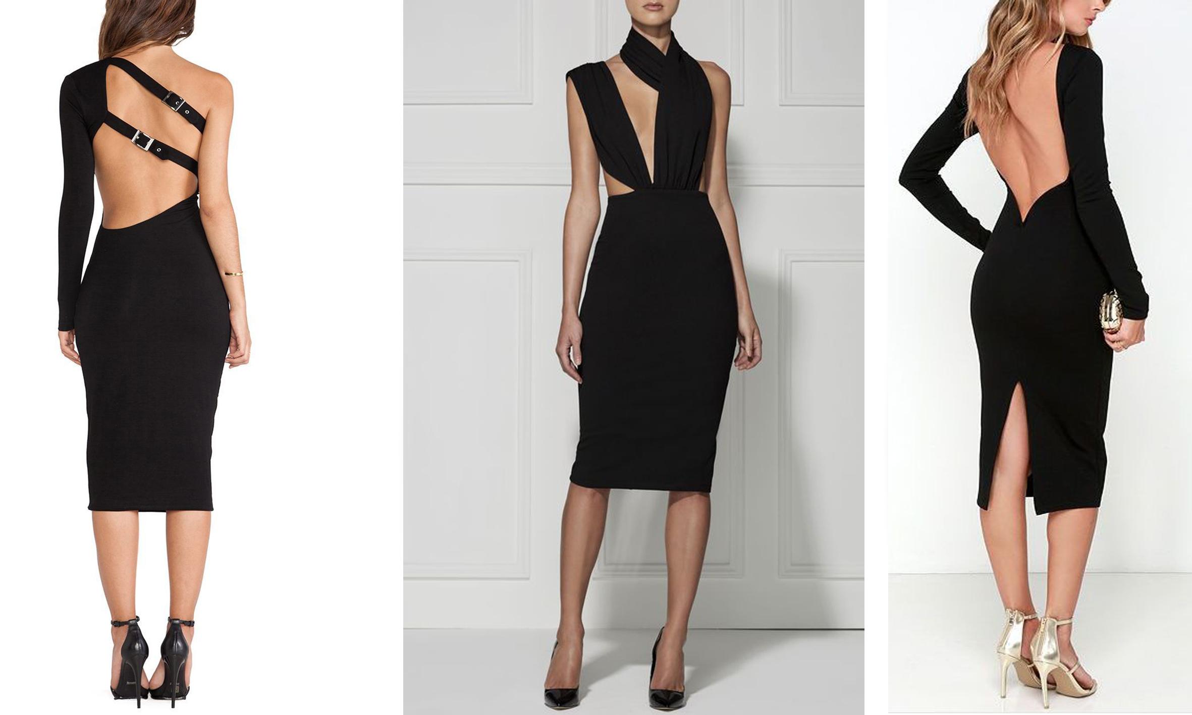 Черное женское платье до колена