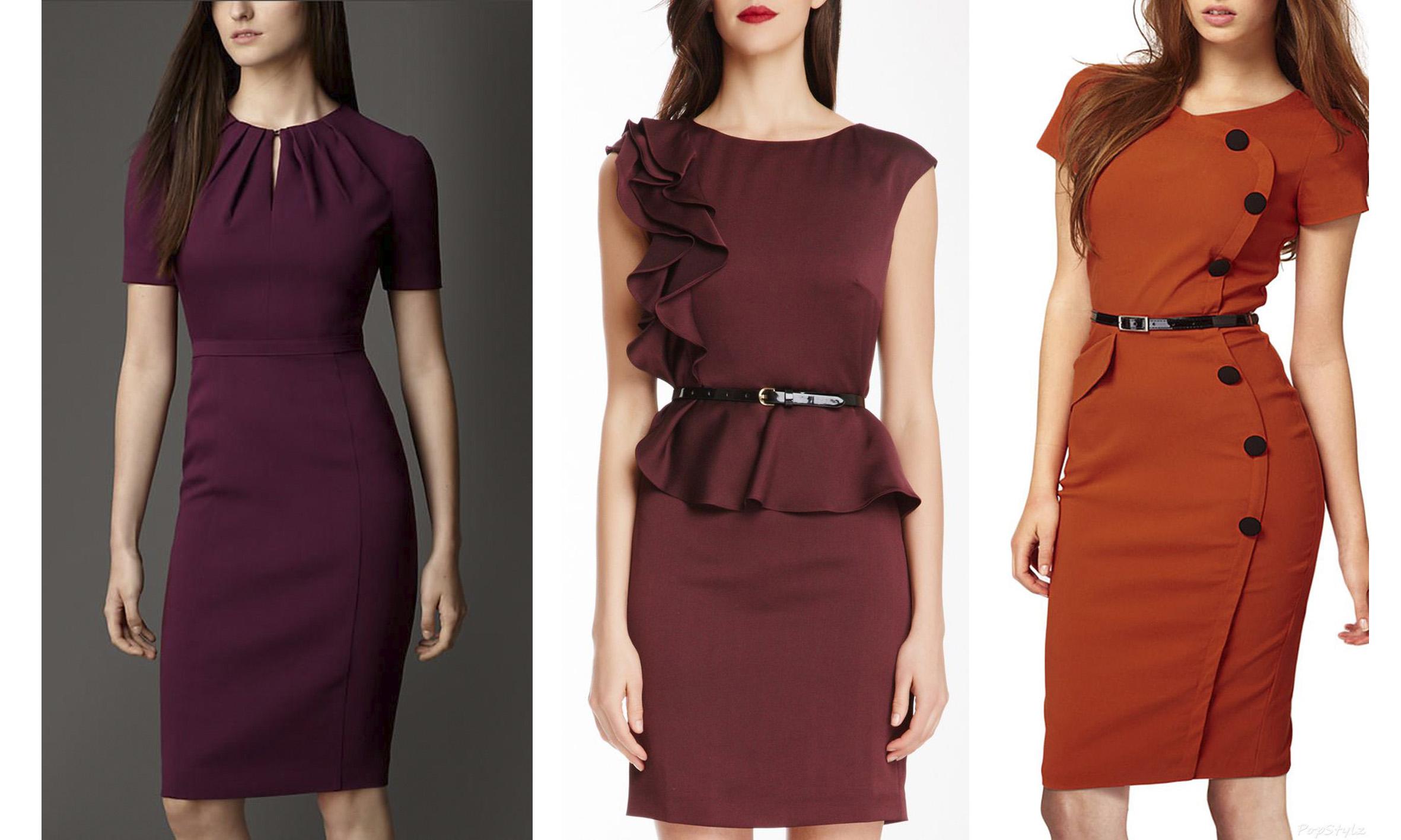 Деловое платье бордовое