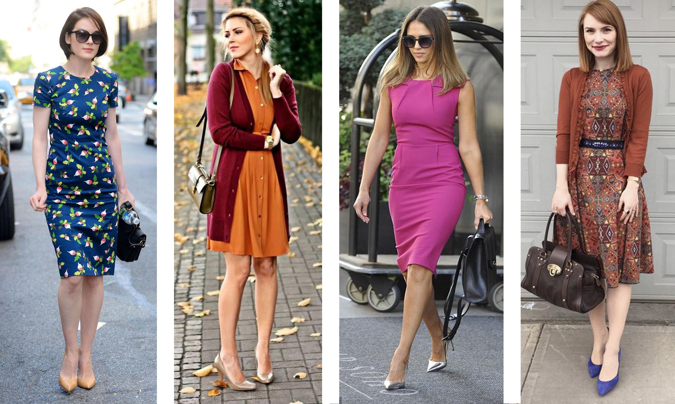 Деловое платье Casual цветное