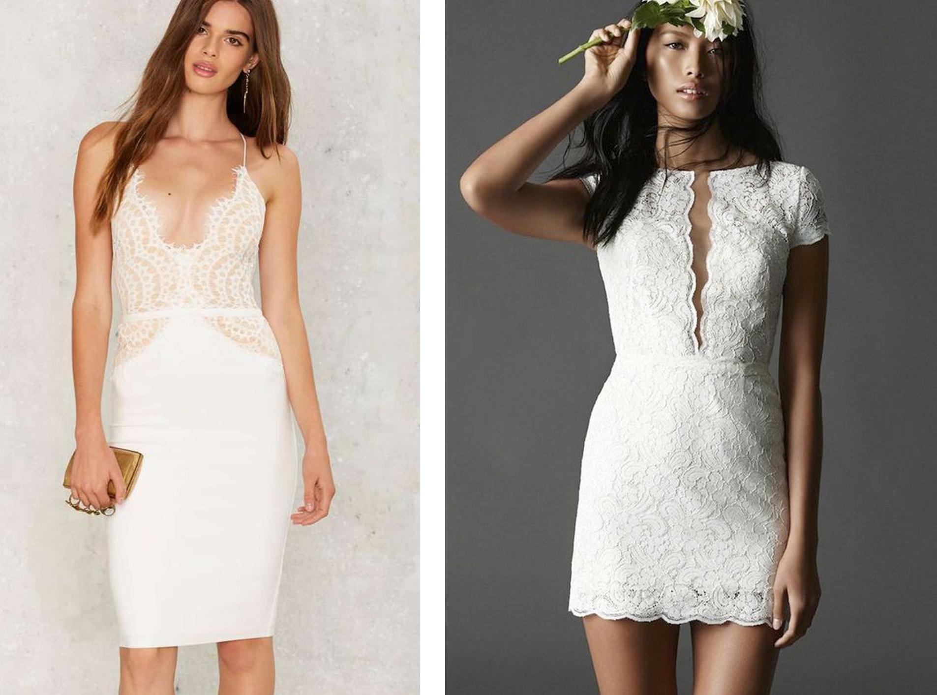 Короткое обтягивающее свадебное платье