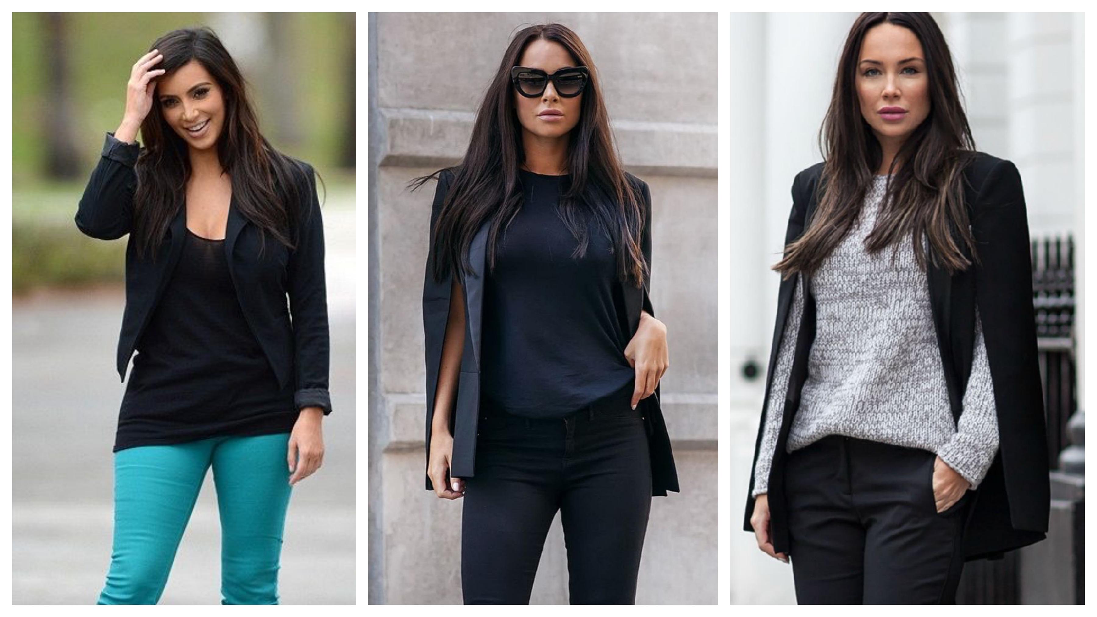 Черный женский пиджак без пуговиц