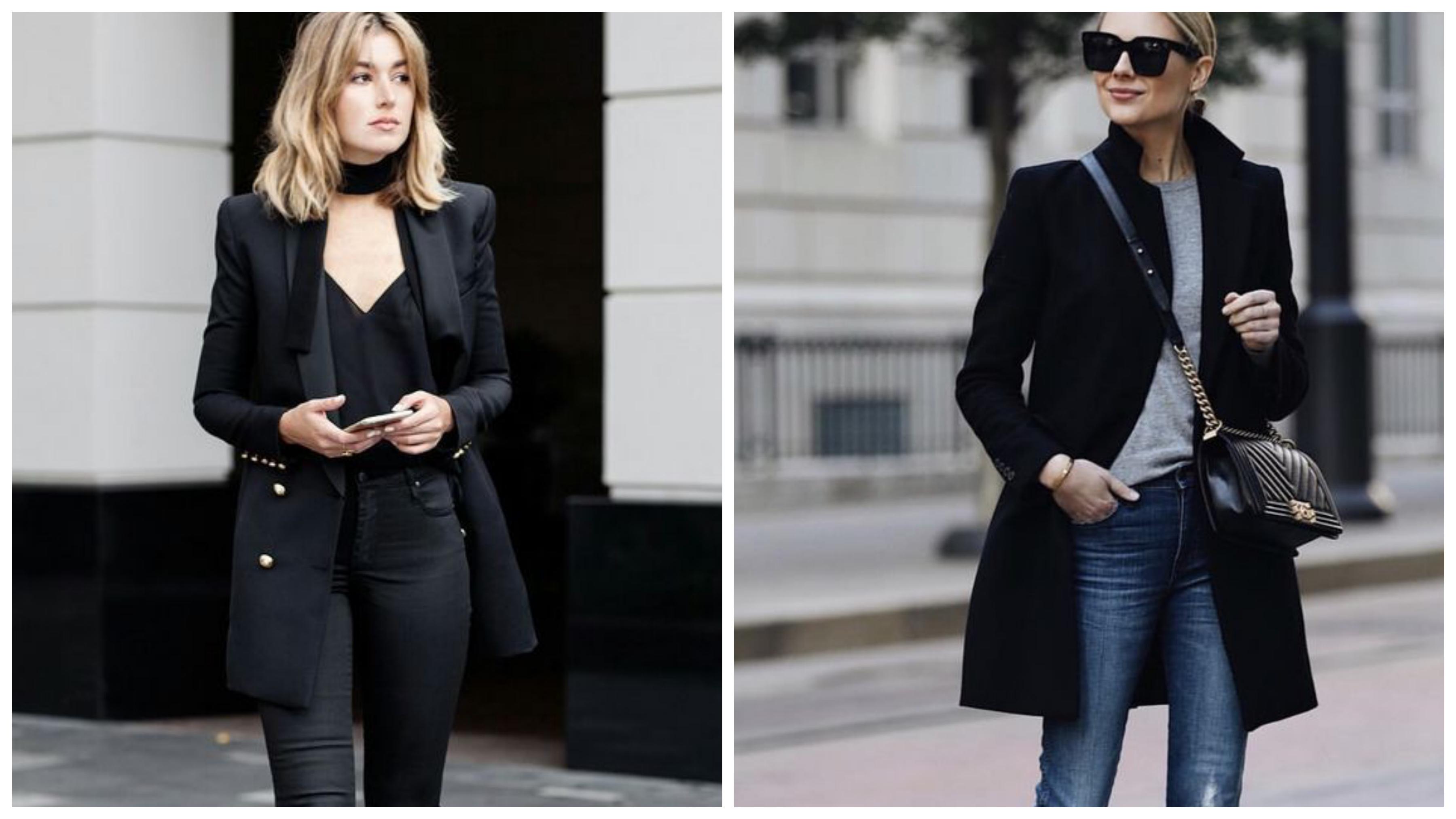 Черный блинный женский пиджак