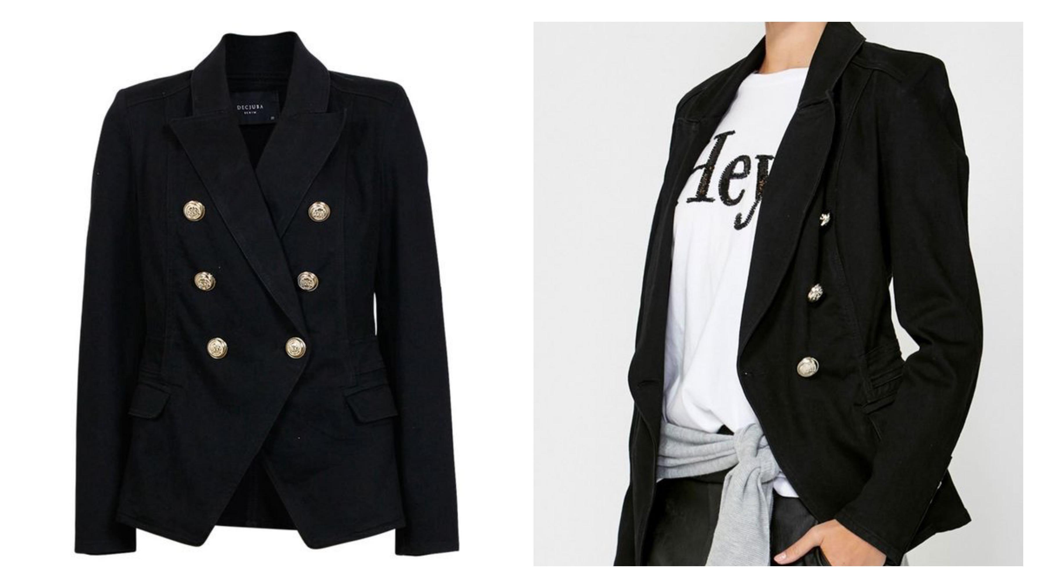 Черный женский джинсовый пиджак
