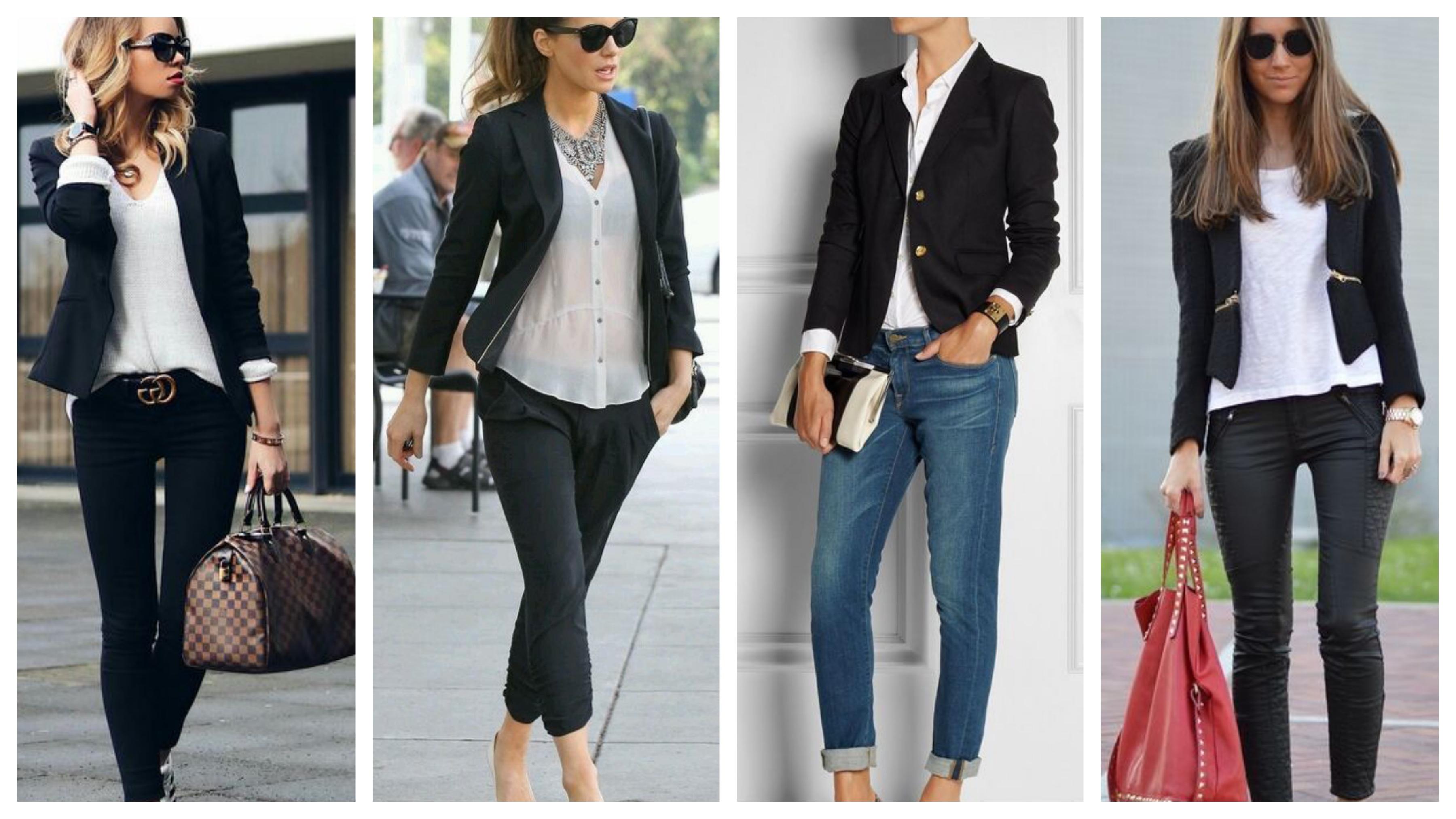 Короткий черный женский пиджак