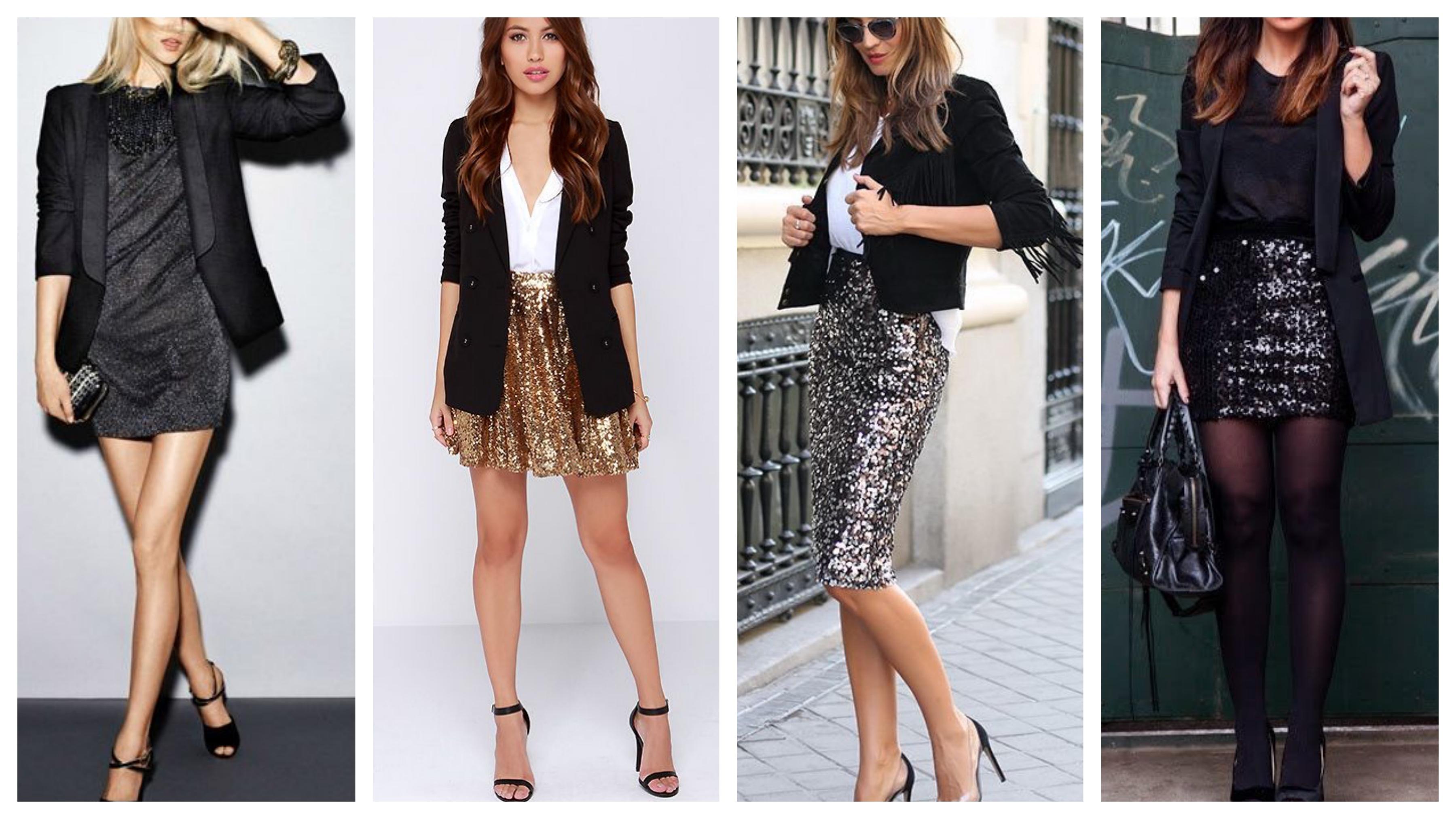 Черный женский пиджак для вечеринки