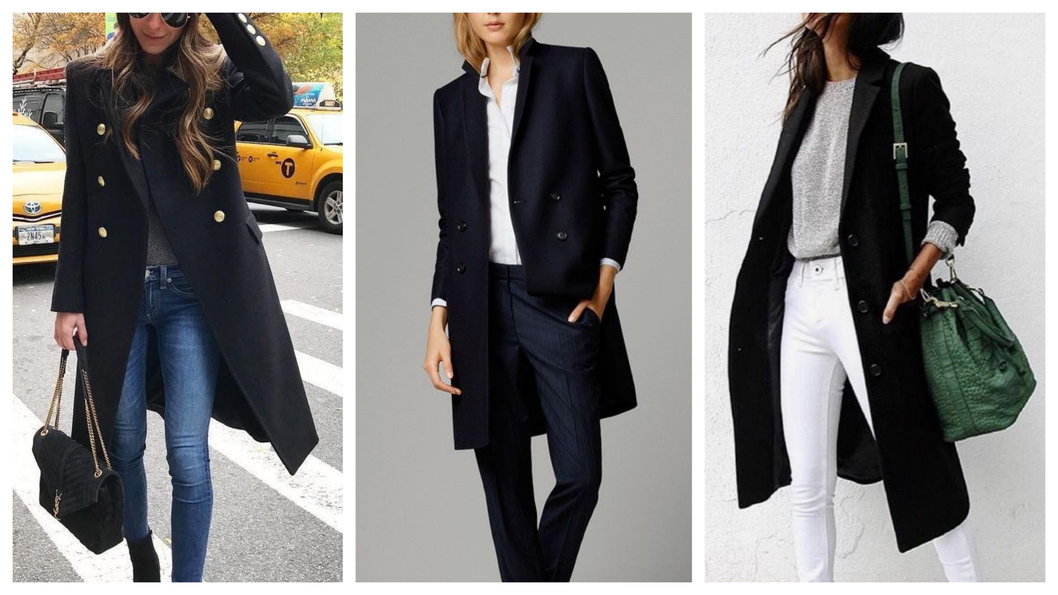 Черный женский пиджак-пальто