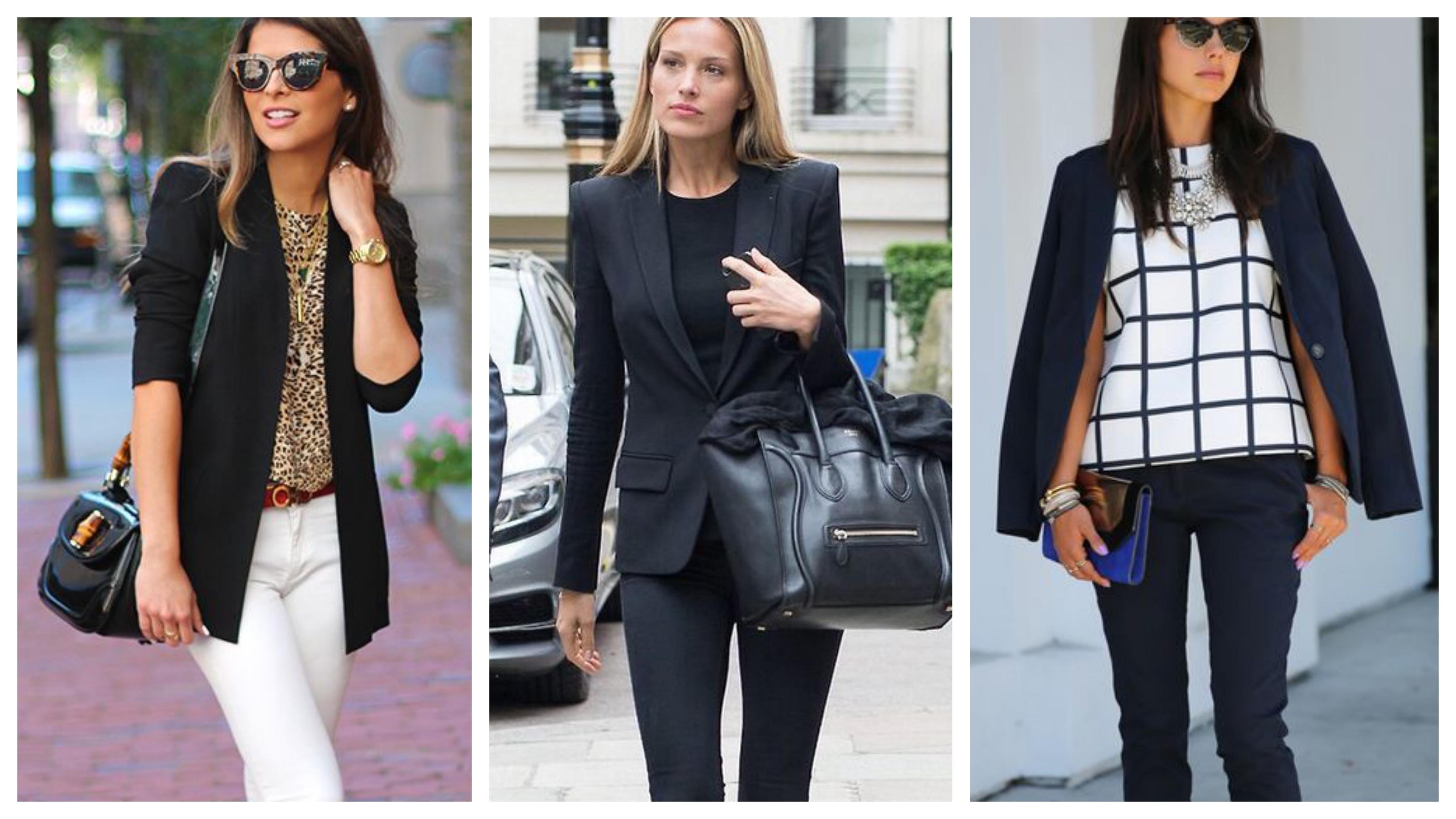 Черный женский пиджак с блузой