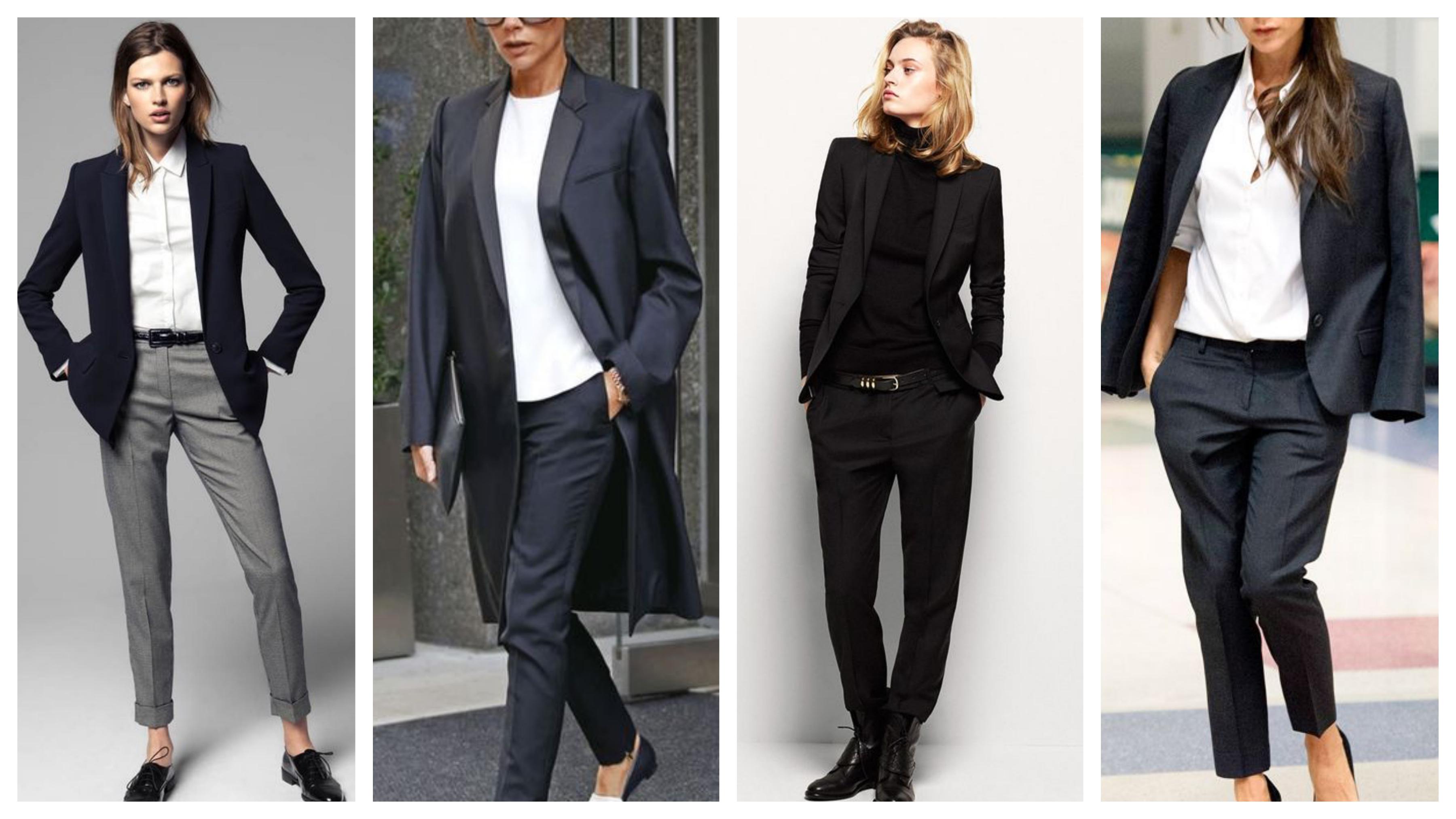 Черный женский пиджак с брюками