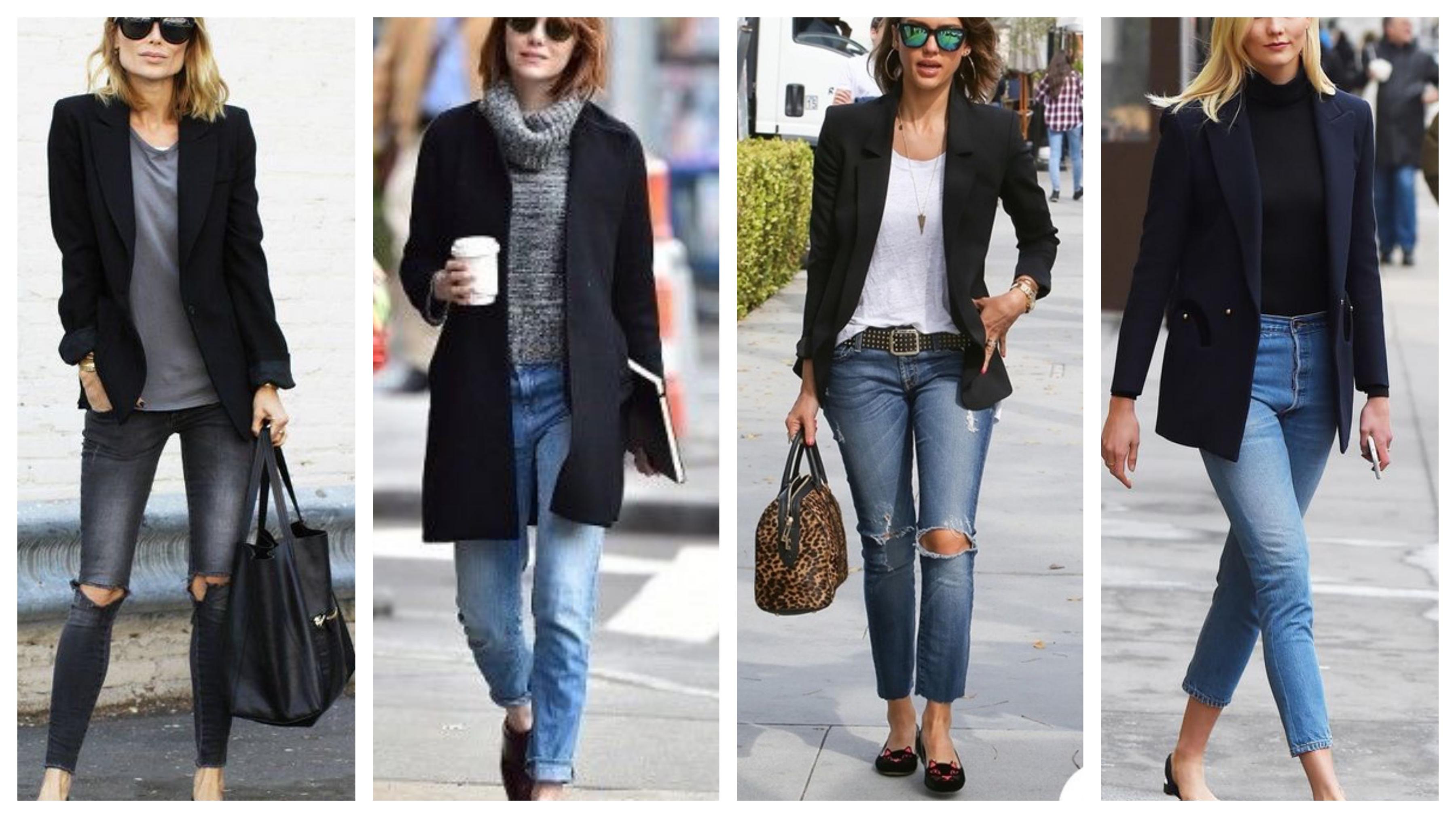 Черный женский пиджак с джинсами