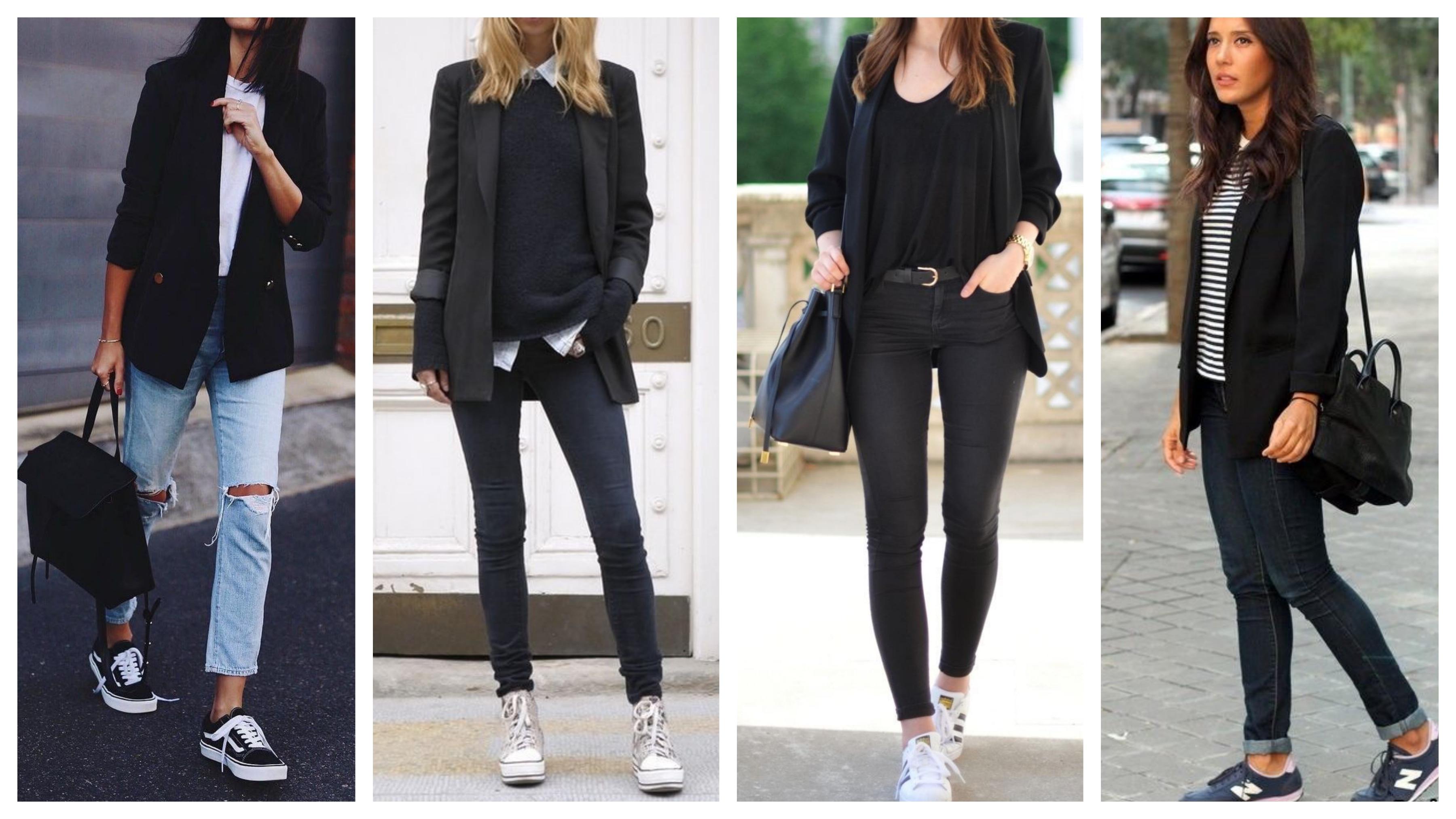 Черный женский пиджак с кроссовками и кедами