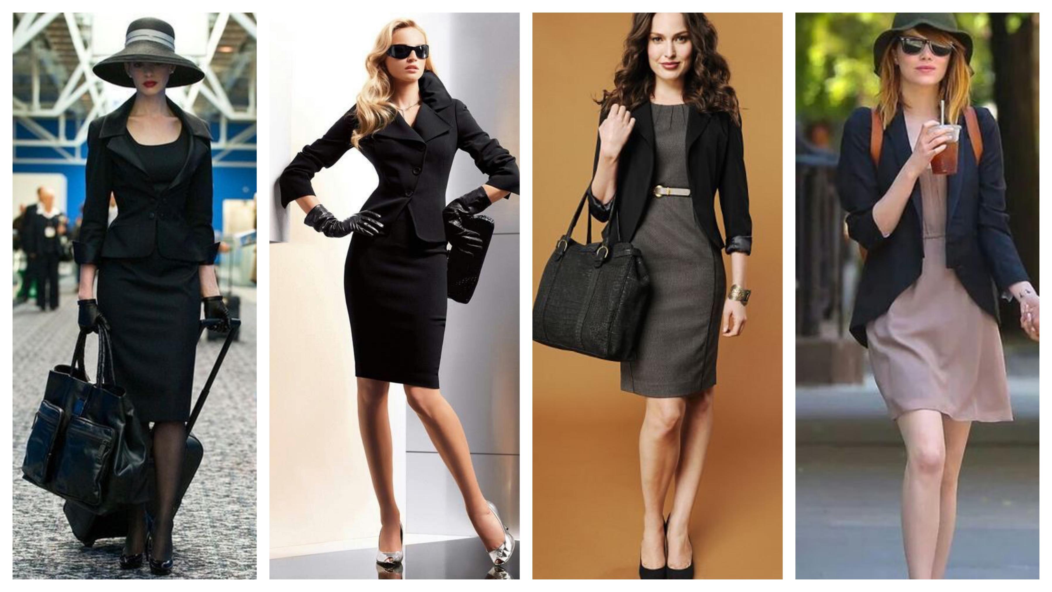 Черный пиджак с платьем