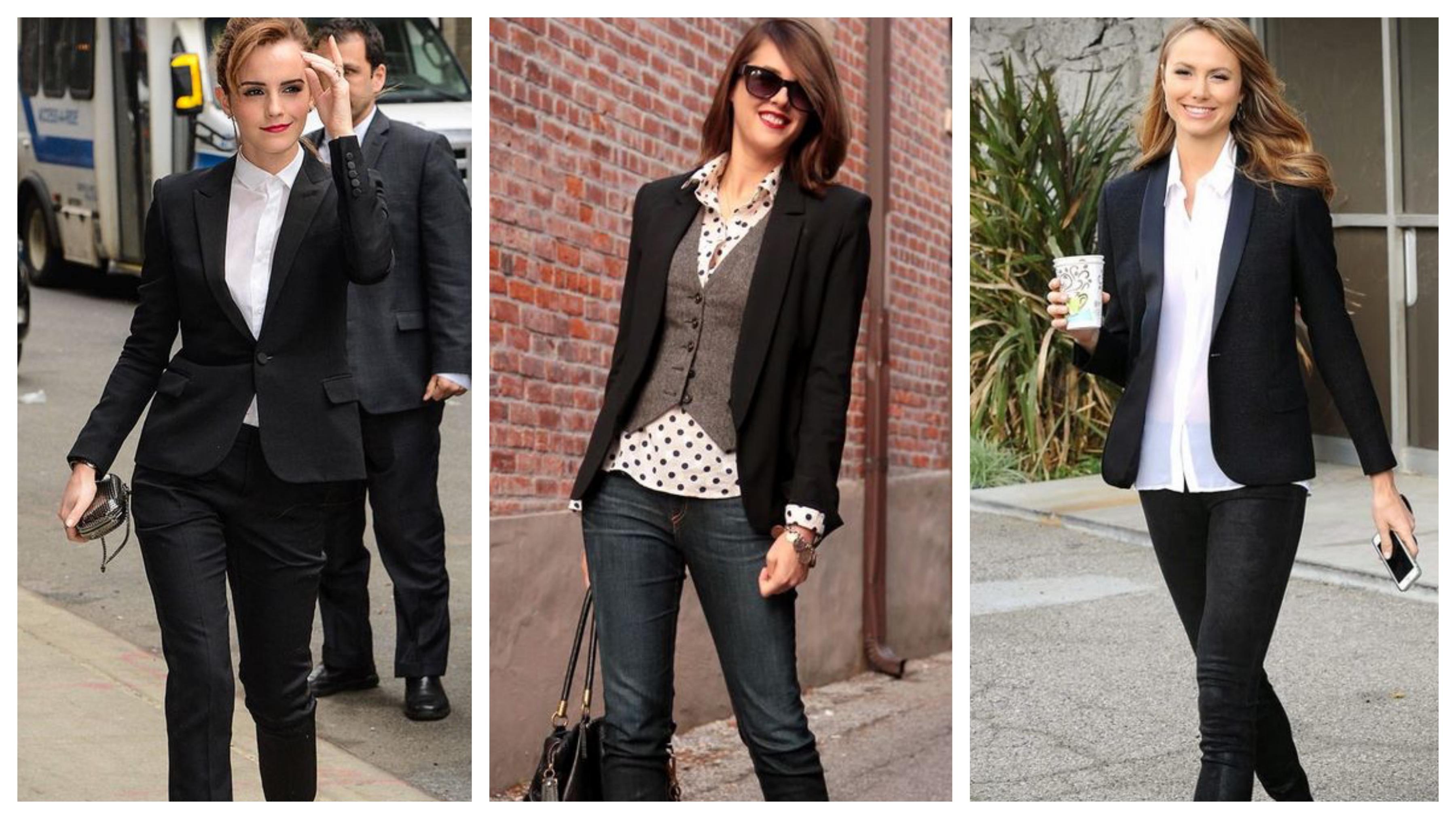 Черный женский пиджак с рубашкой