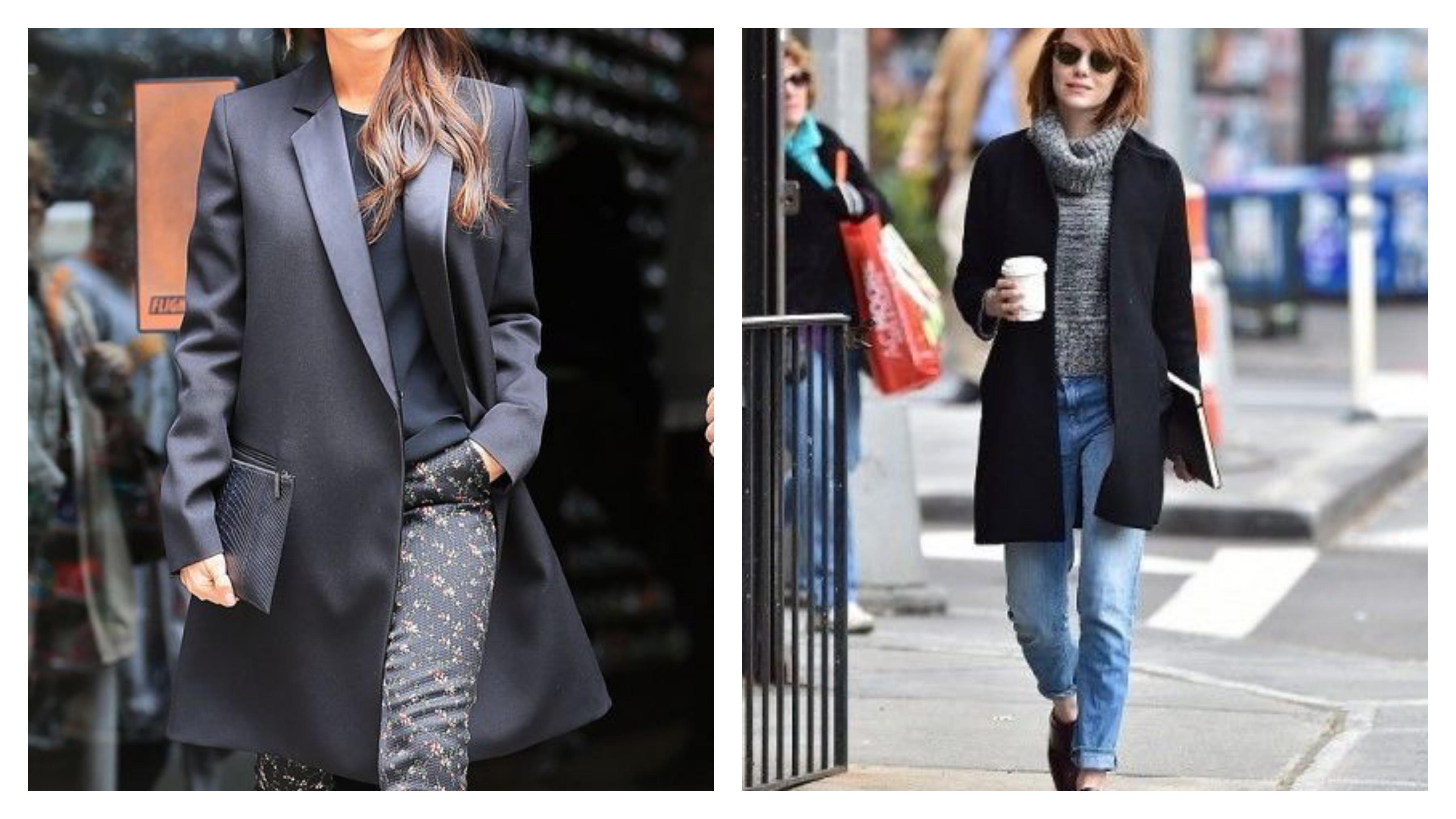 Черный удлиненный женский пиджак