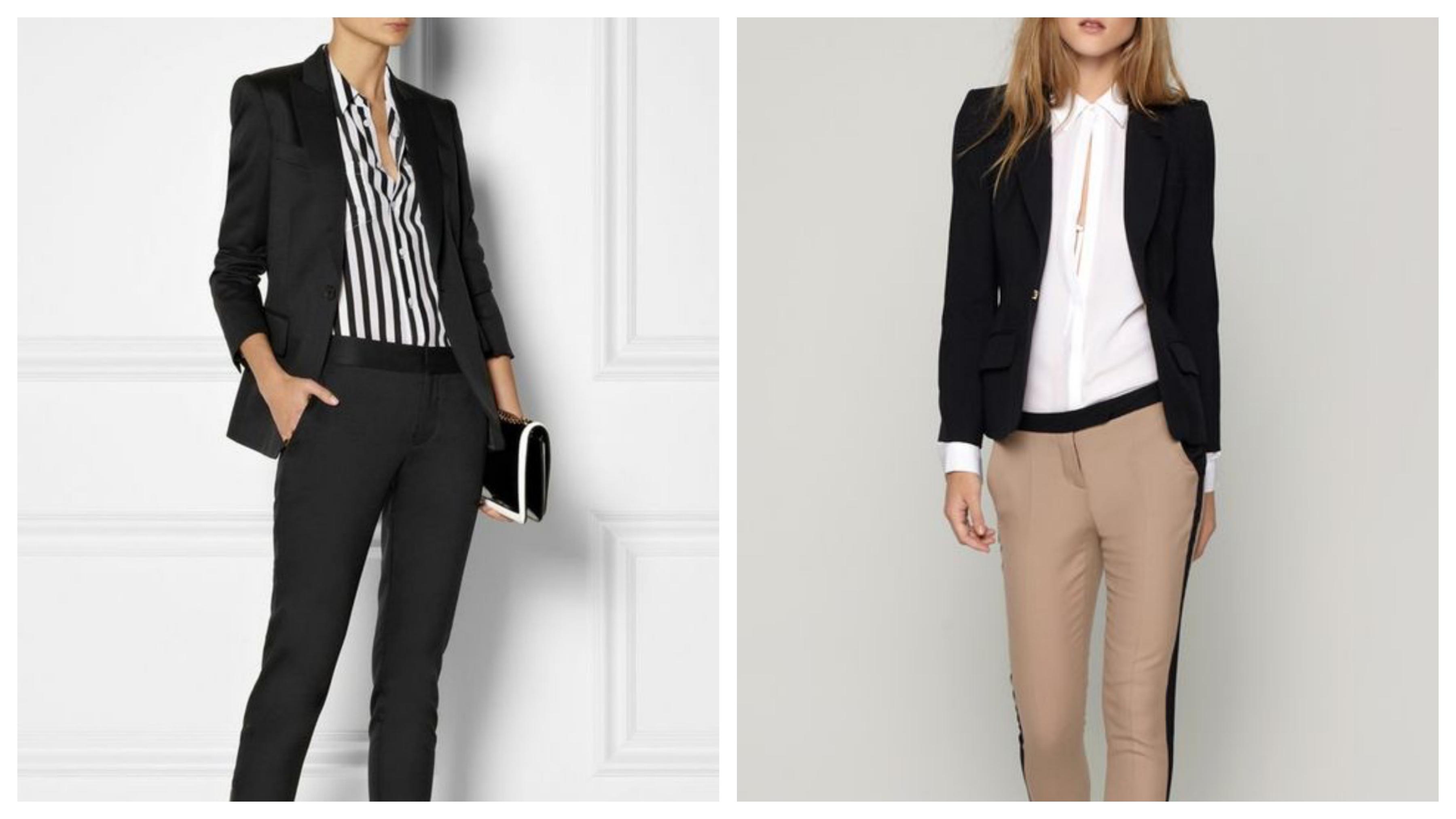 Черный женский пиджак с блузкой