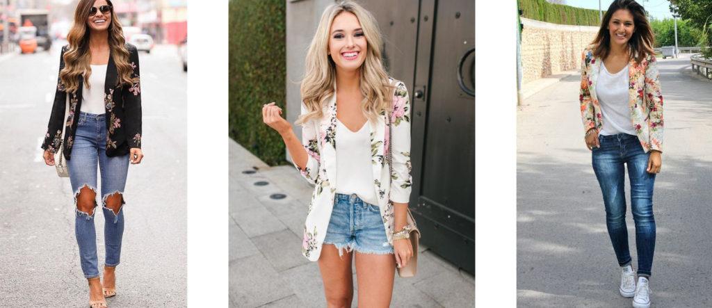 Летний пиджак с цветочным принтом