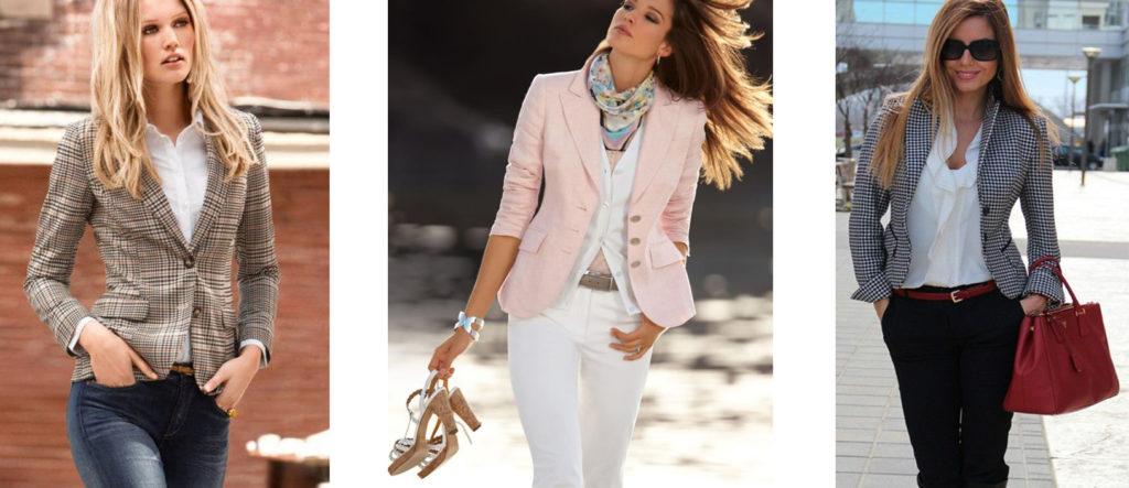 Приталенный летний пиджак сумеет подчеркнуть женственность и придать фигуре плавные очертания.