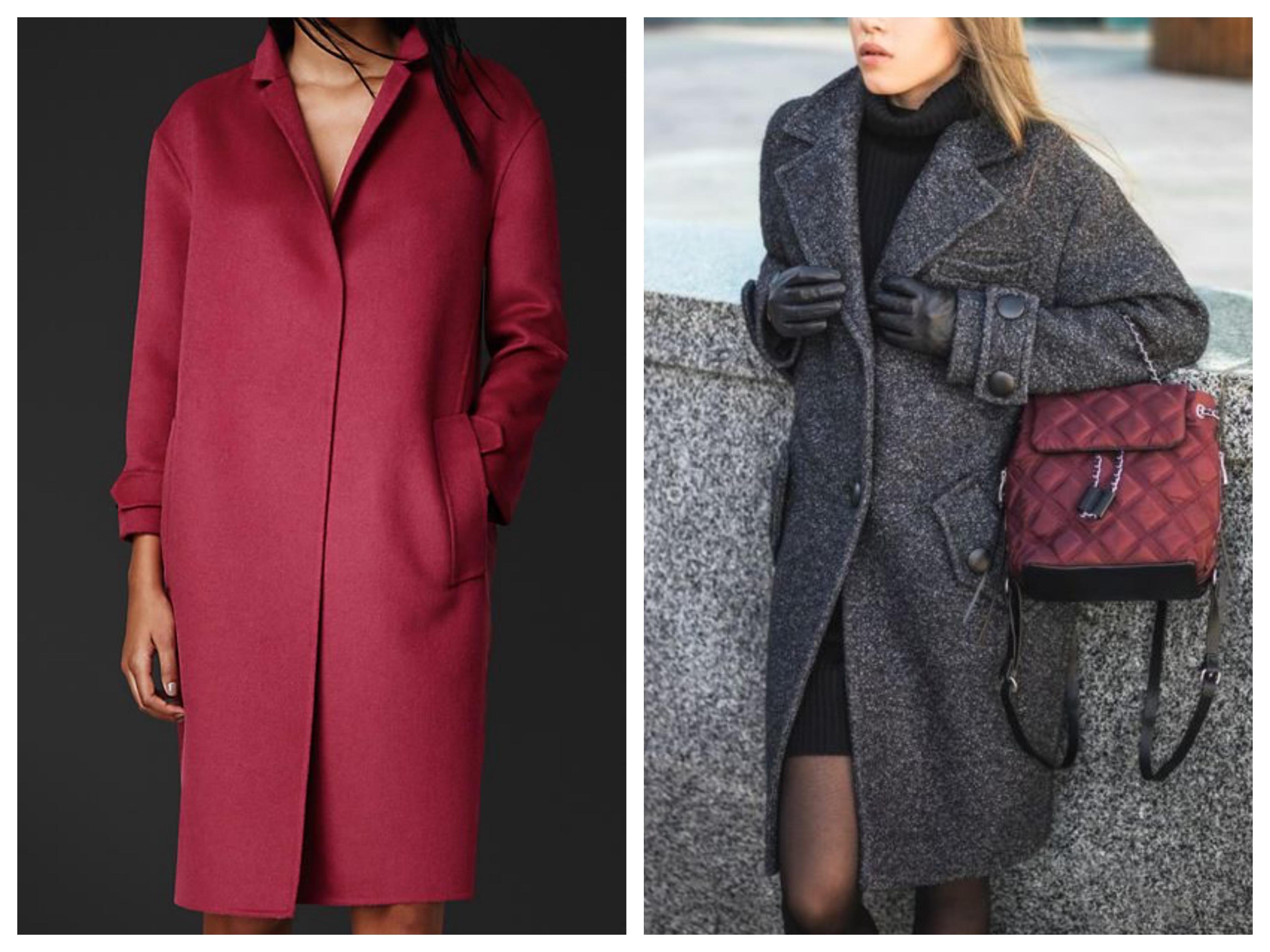 Драповое женское пальто до колена