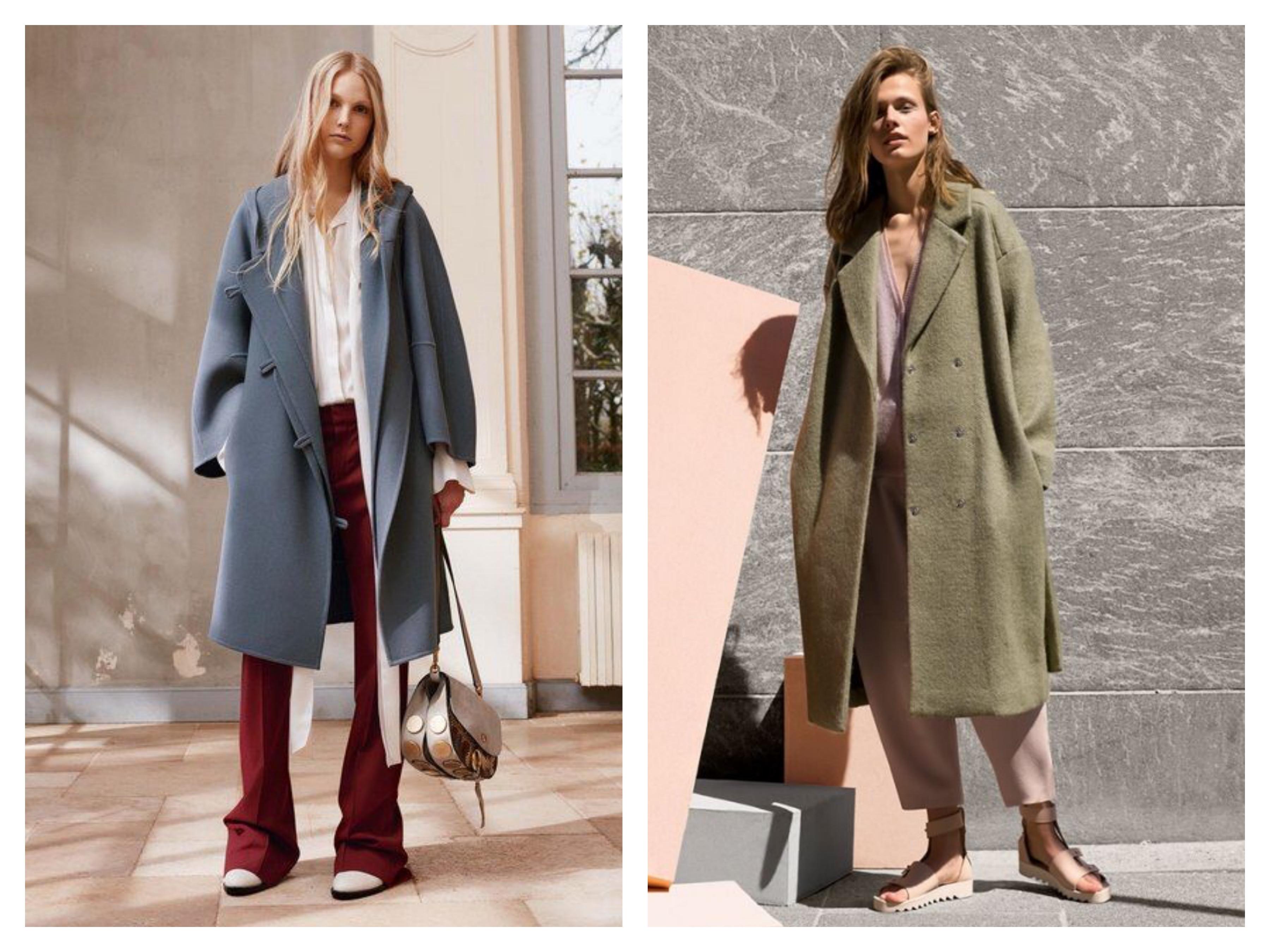 Драповое женское пальто оверсайз