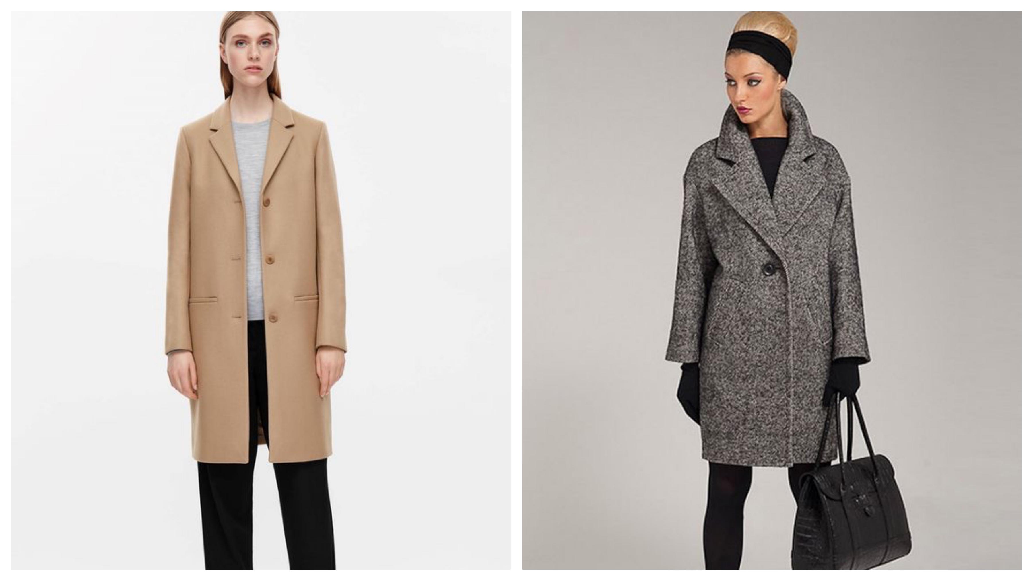 Драповое женское пальто прямого силуэта