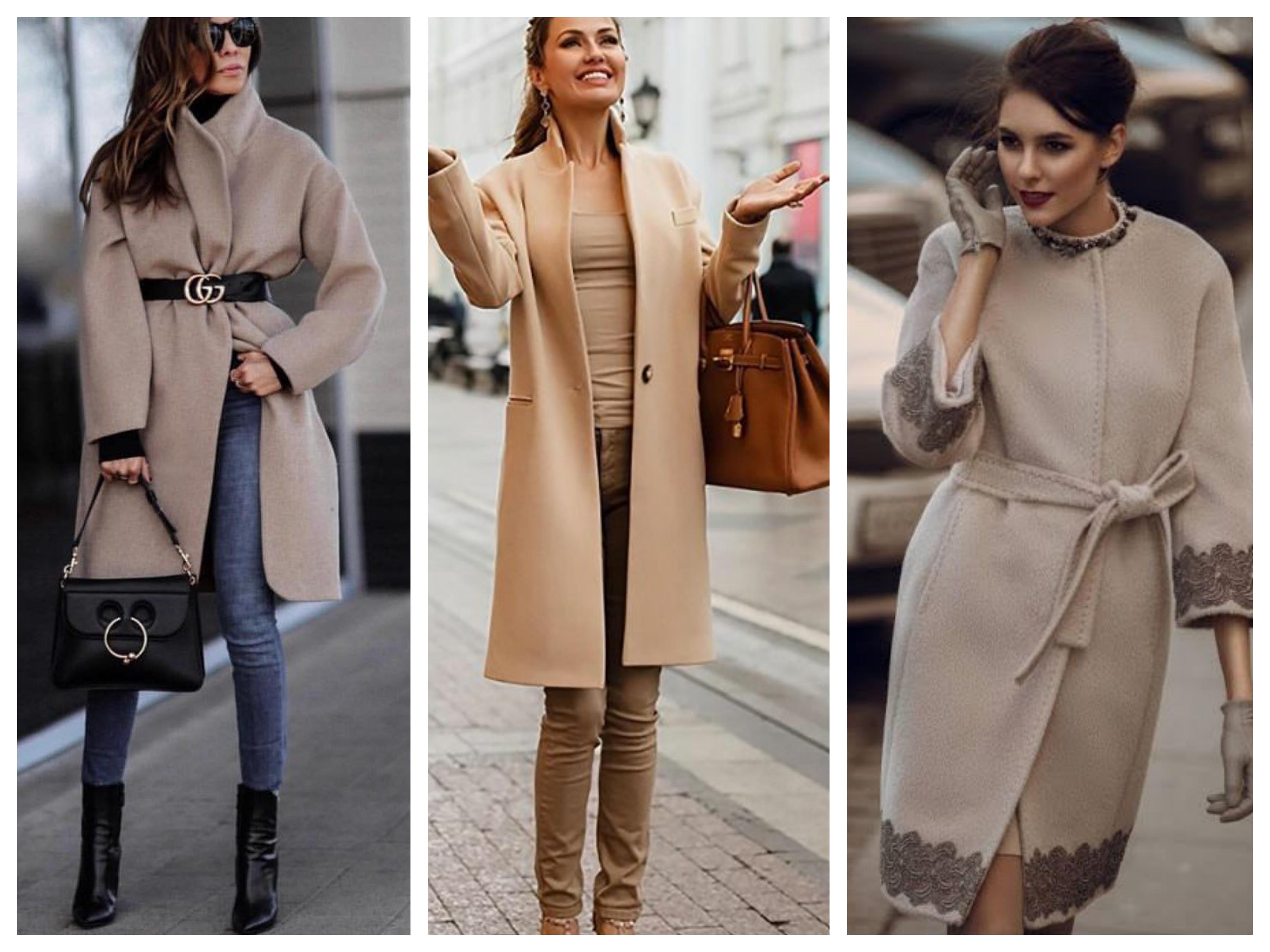 Драповое женское пальто бежевое
