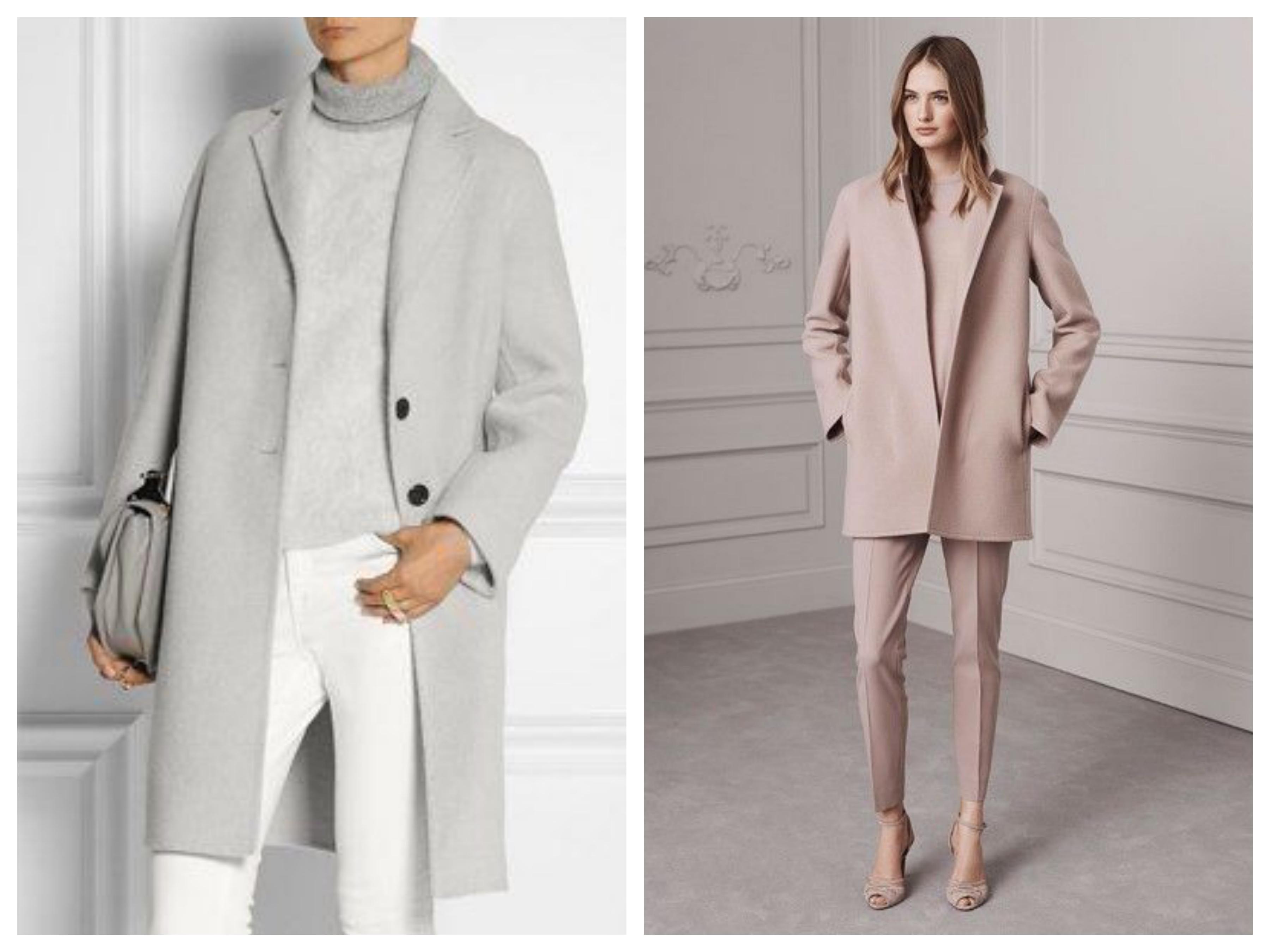 Драповое женское пальто пудрового цвета