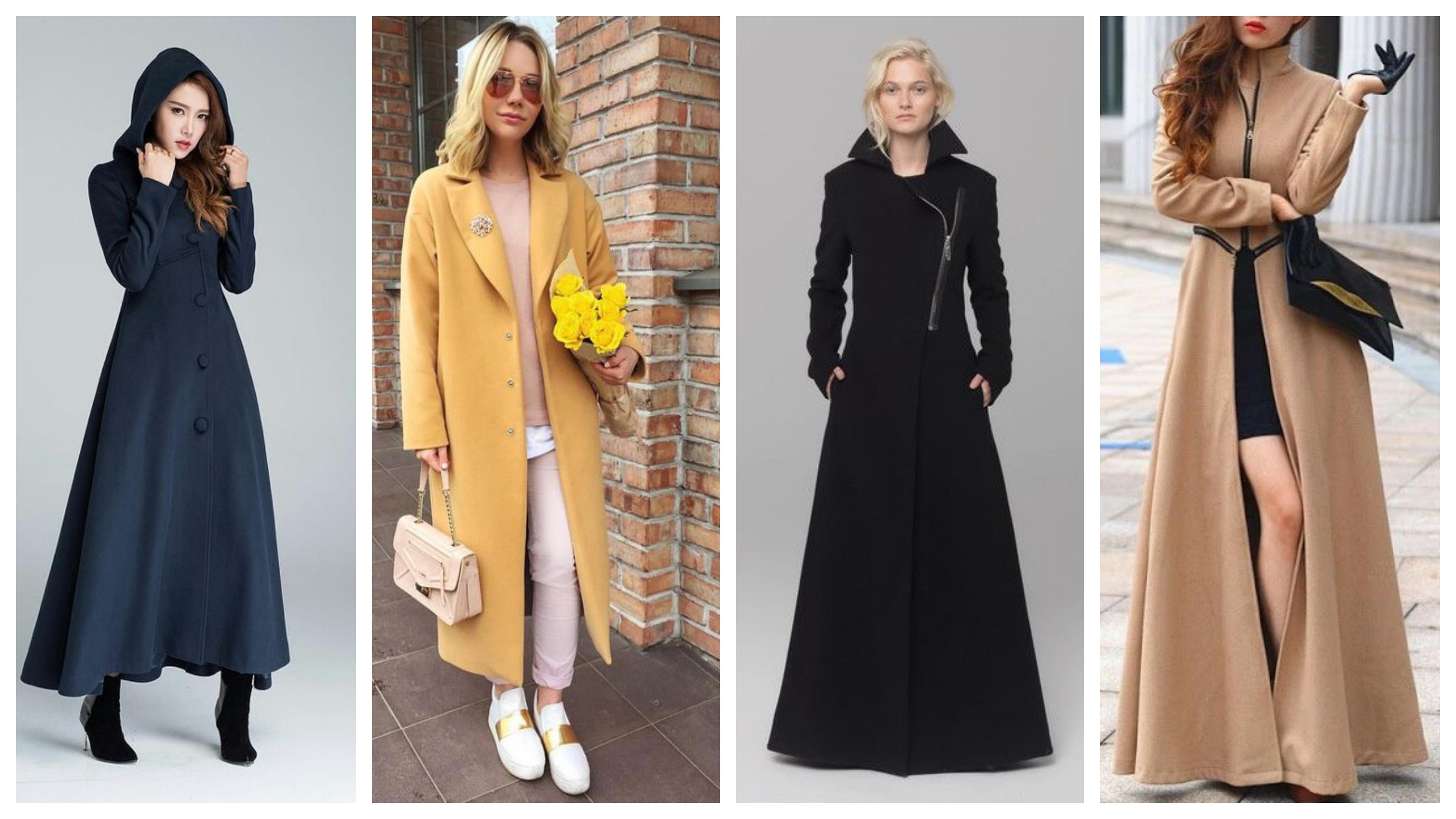 Драповое женское пальто длинное