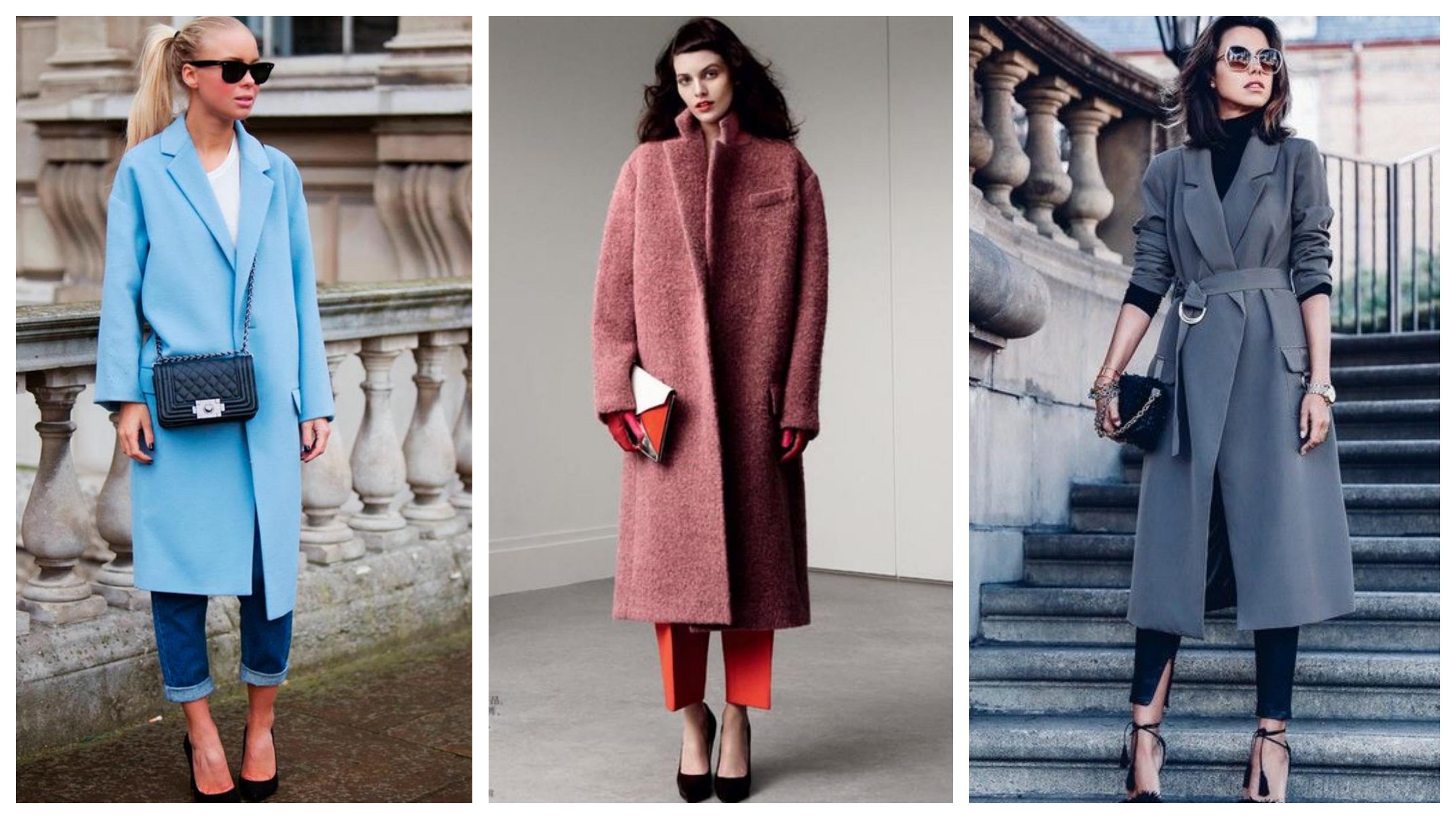 Драповое женское пальто до икр