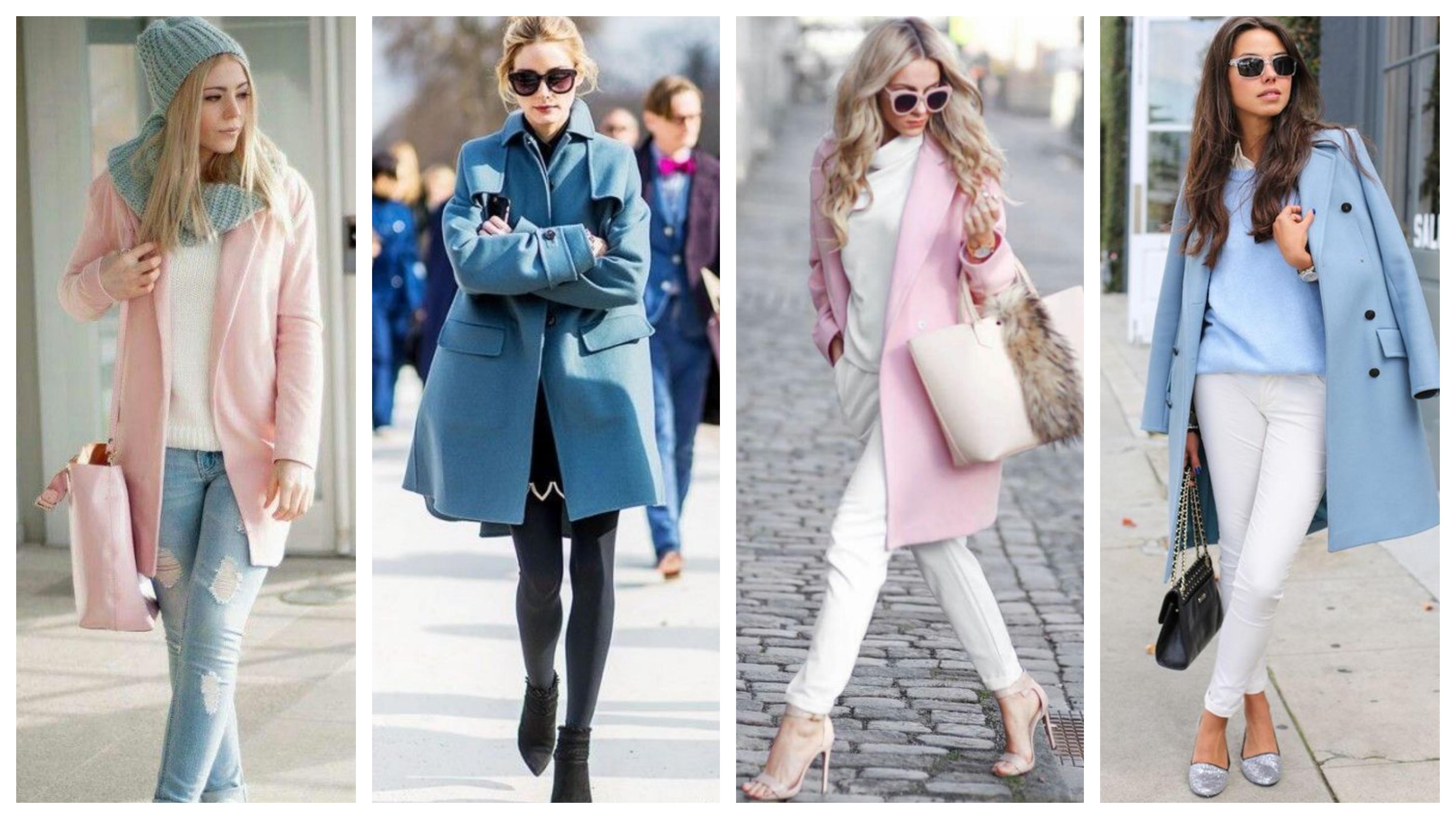 Драповое женское пальто розовое и голубое