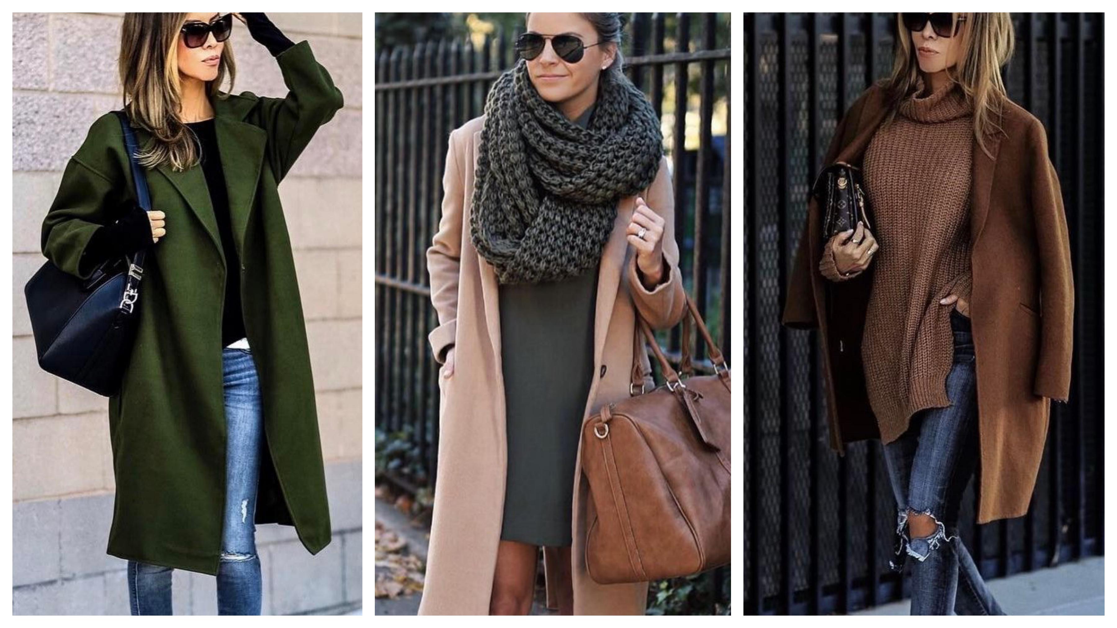 Драповое женское пальто модный лук