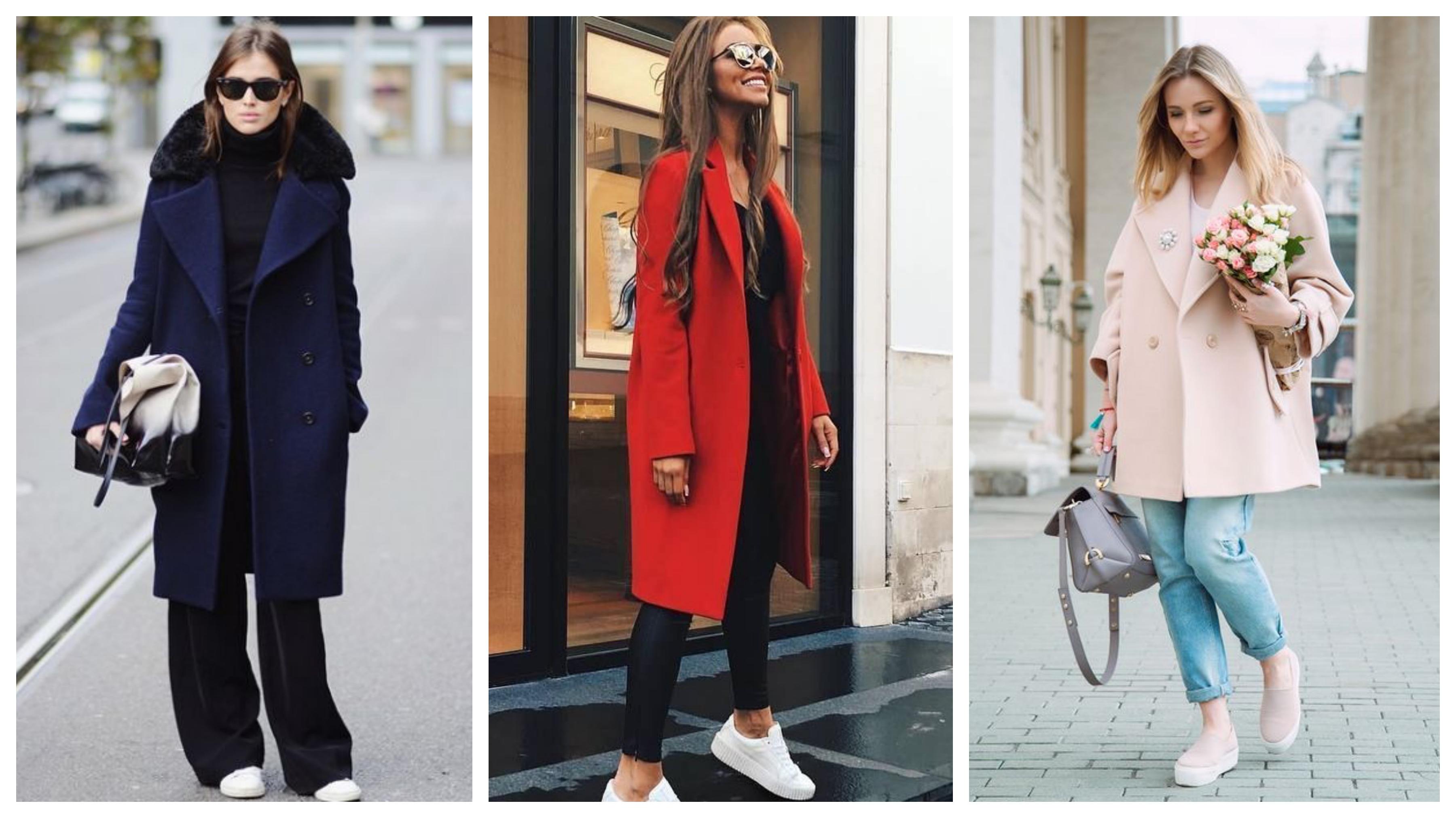 Драповое женское пальто модное