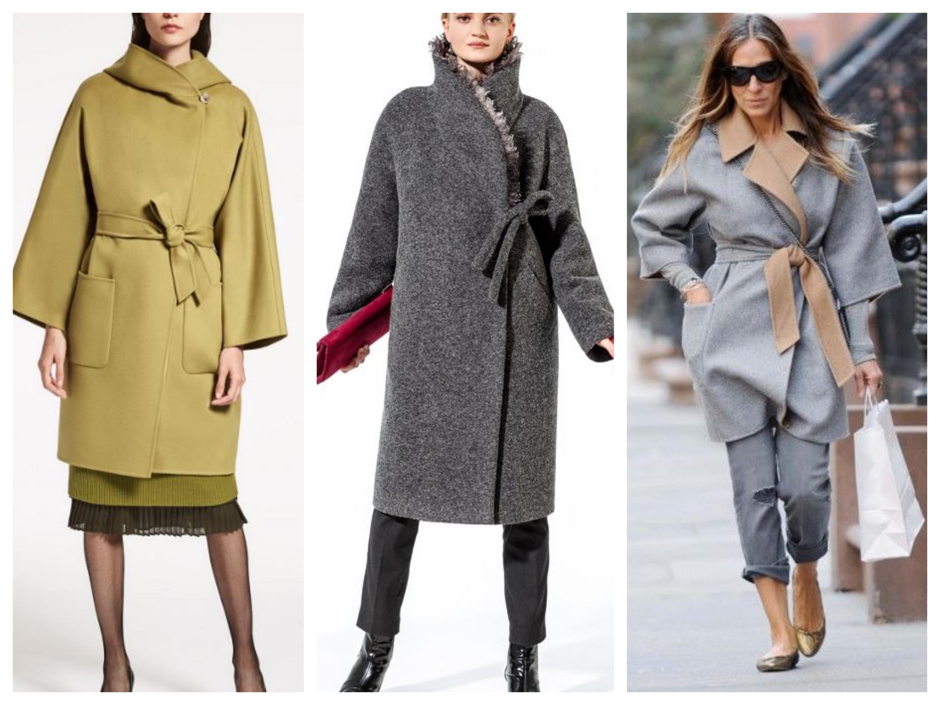 Драповое женское пальто с запахом