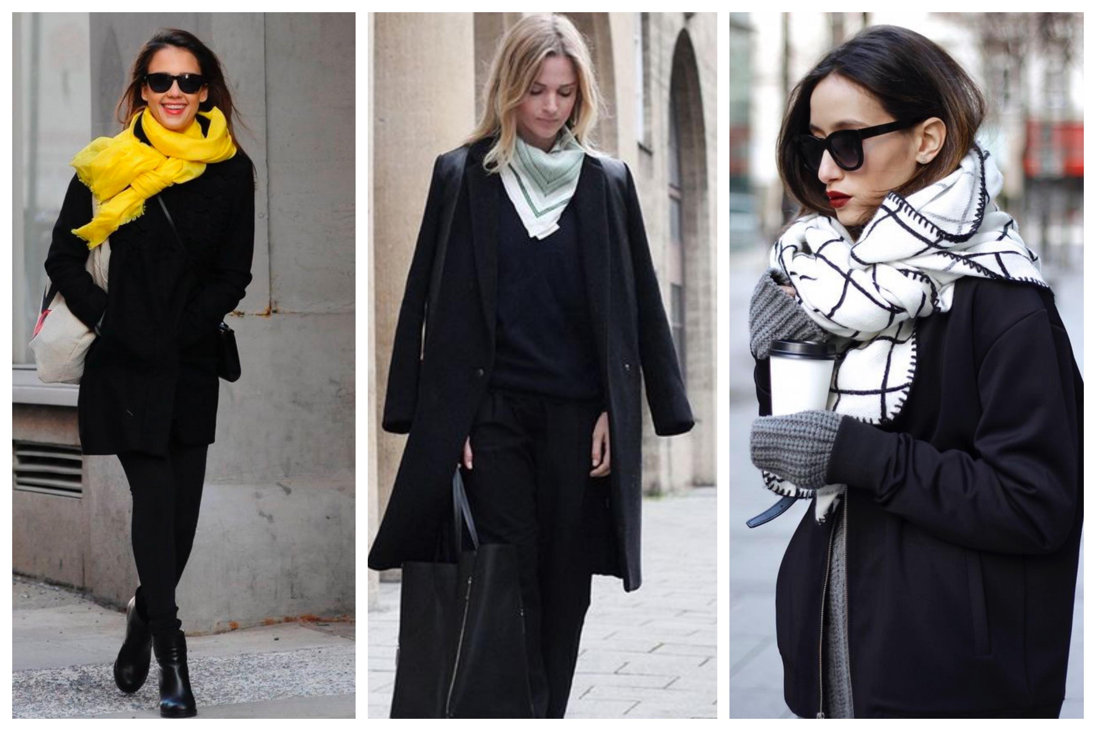 Шарф для черного пальто
