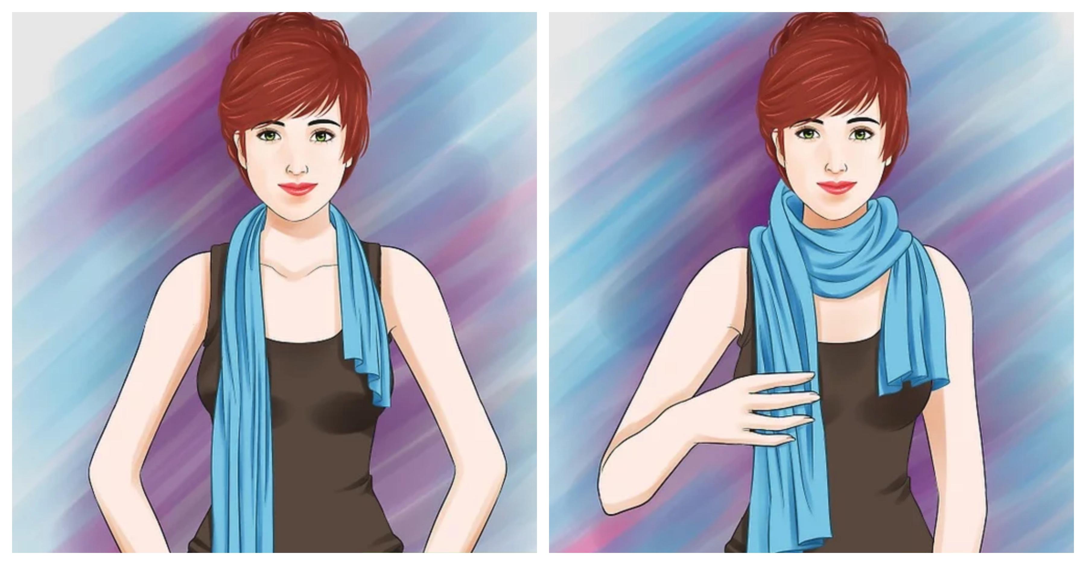Как завязать шарф водопадом