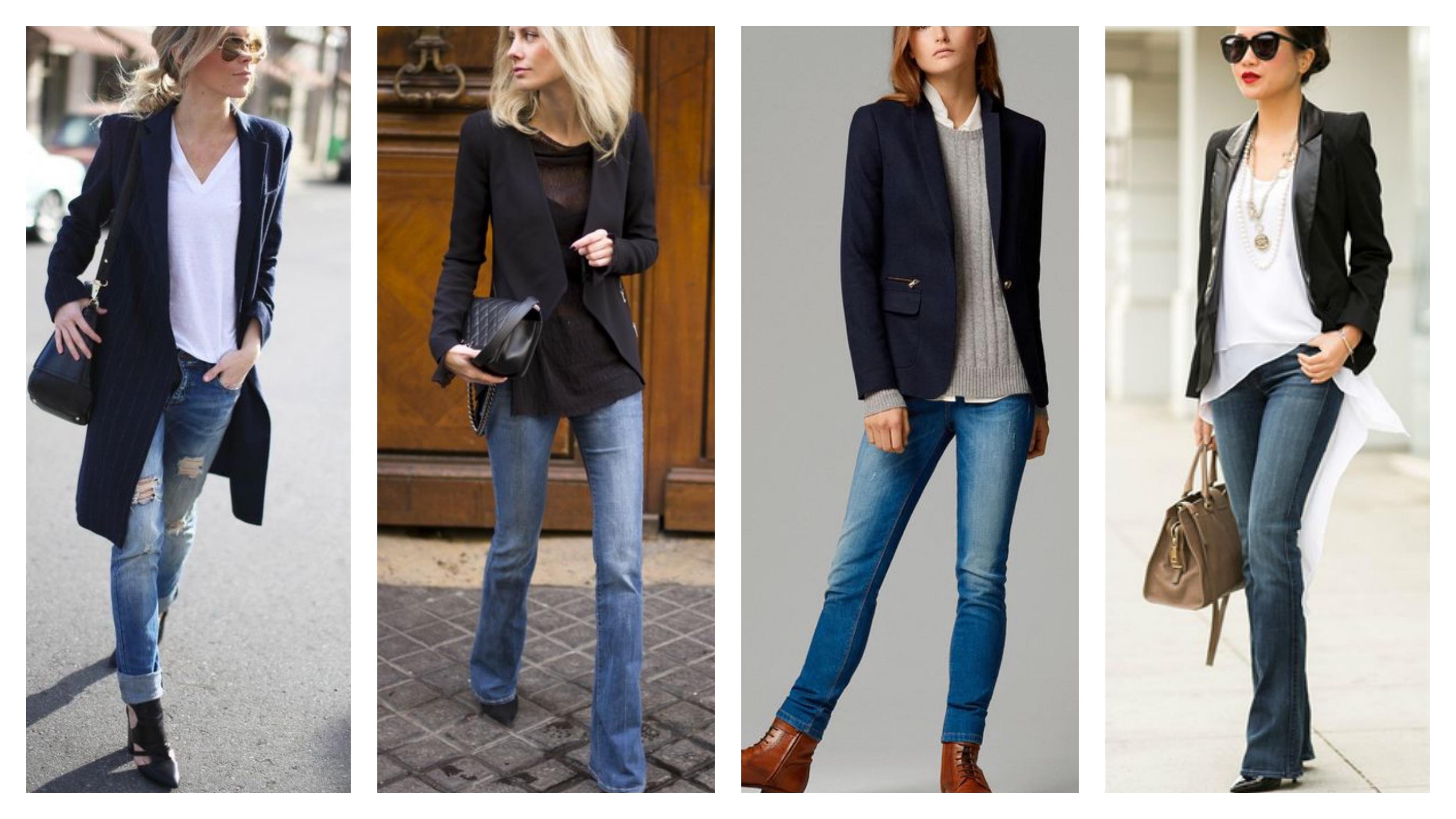 джинсы и черный классический пиджак