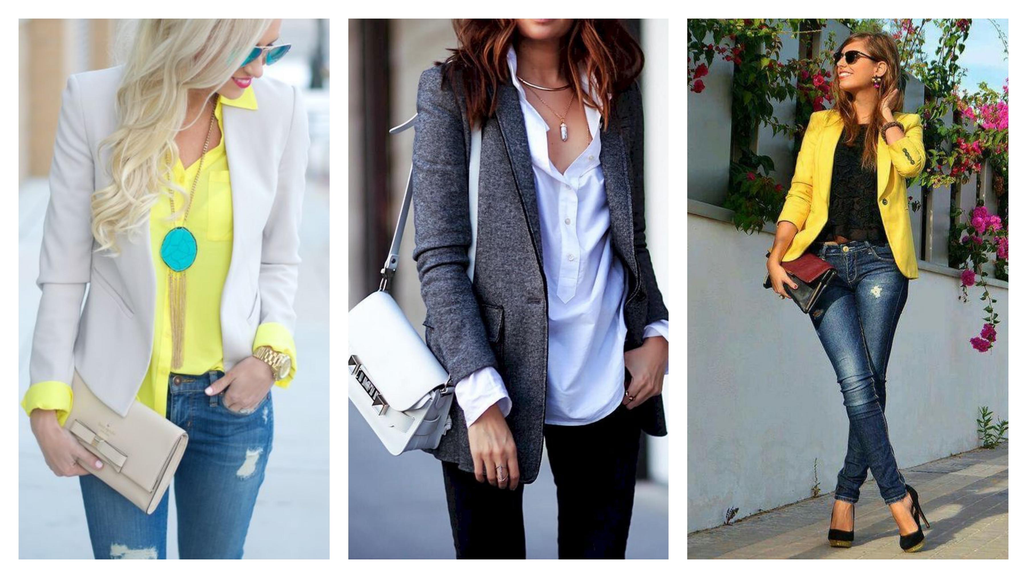 Джинсы, пиджак и блузка