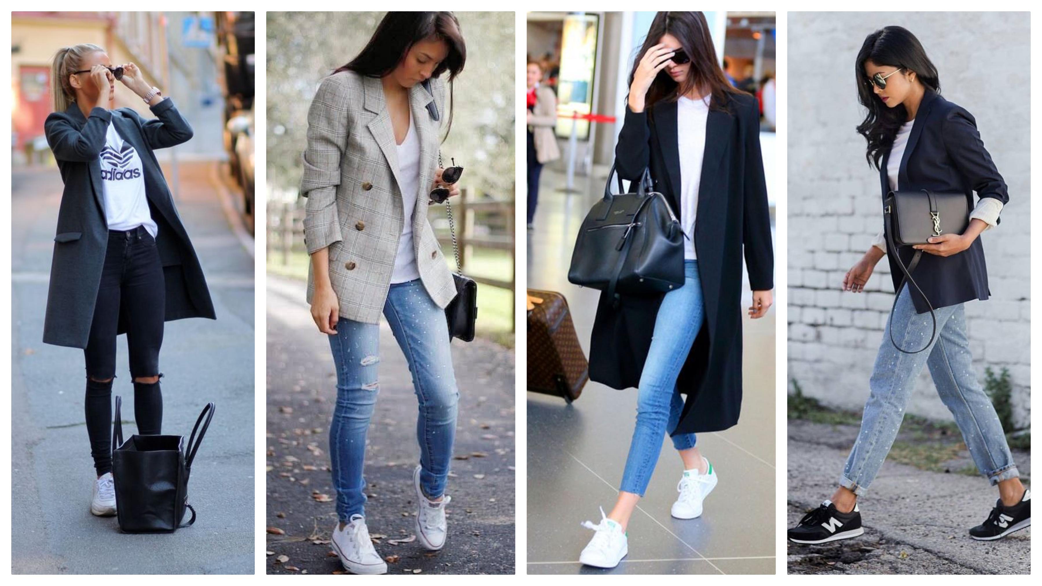 Джинсы, пиджак и кроссовки