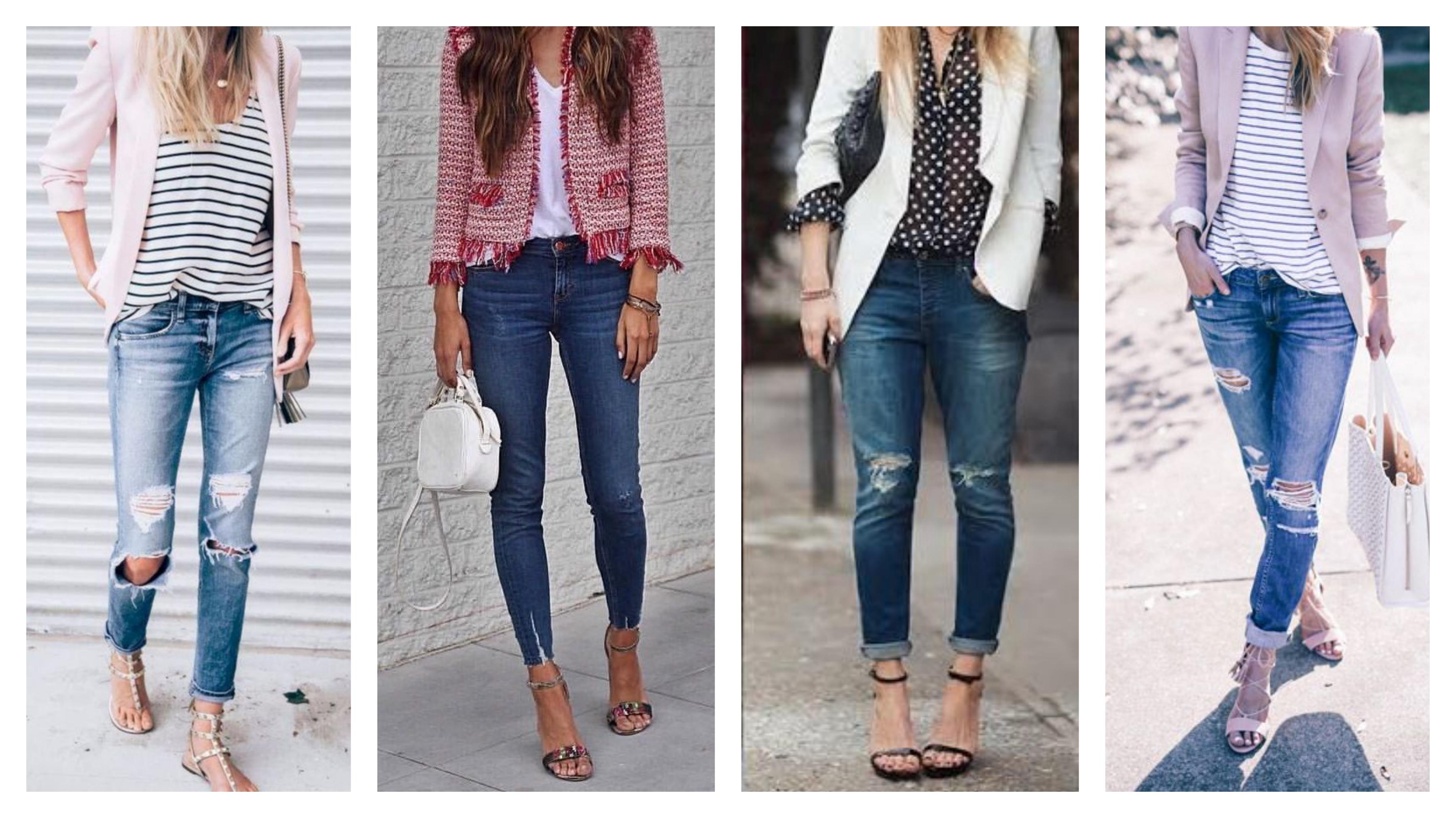 Пиджак, джинсы и босоножки