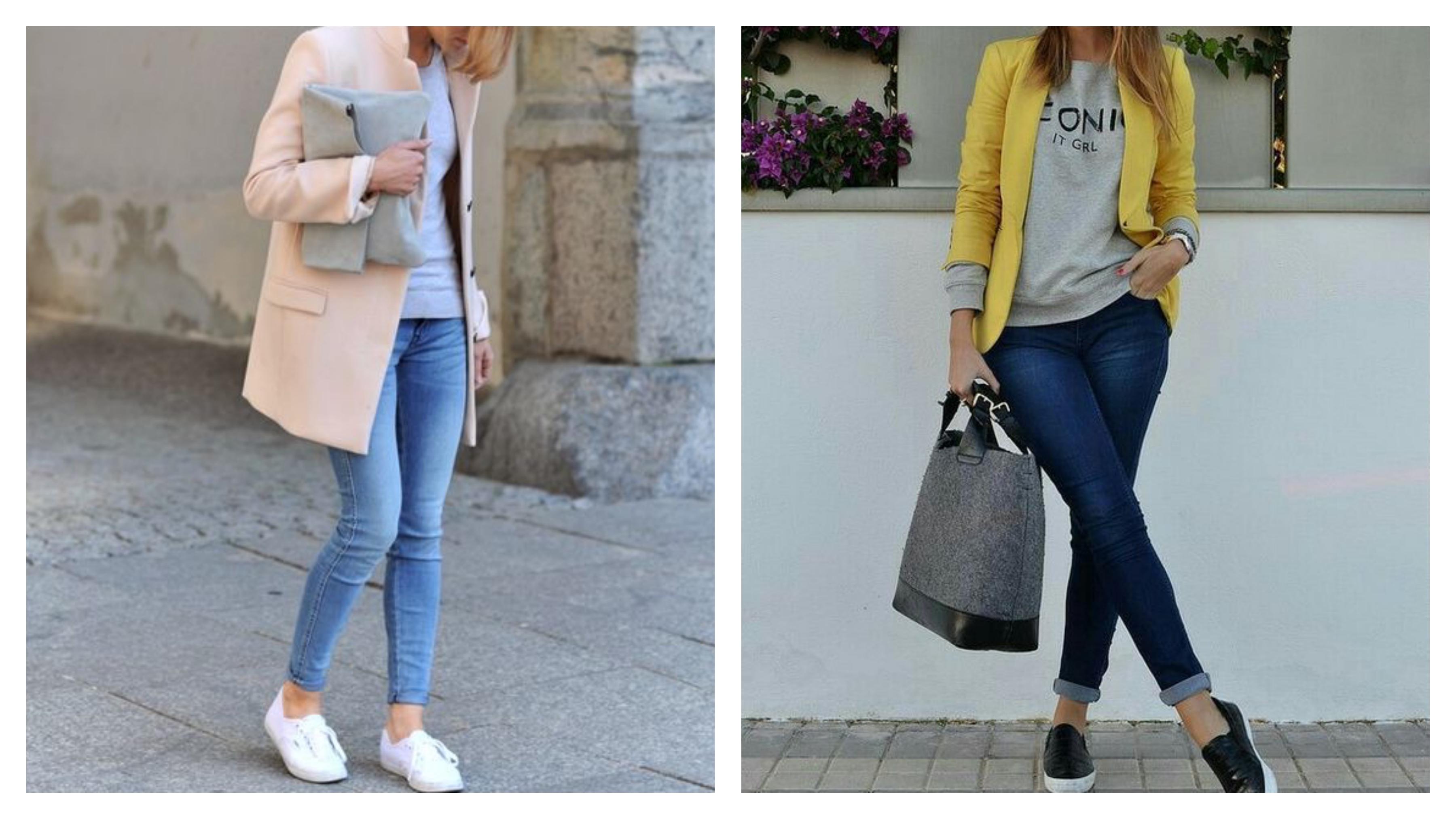 джинсы, пиджак и толстовка
