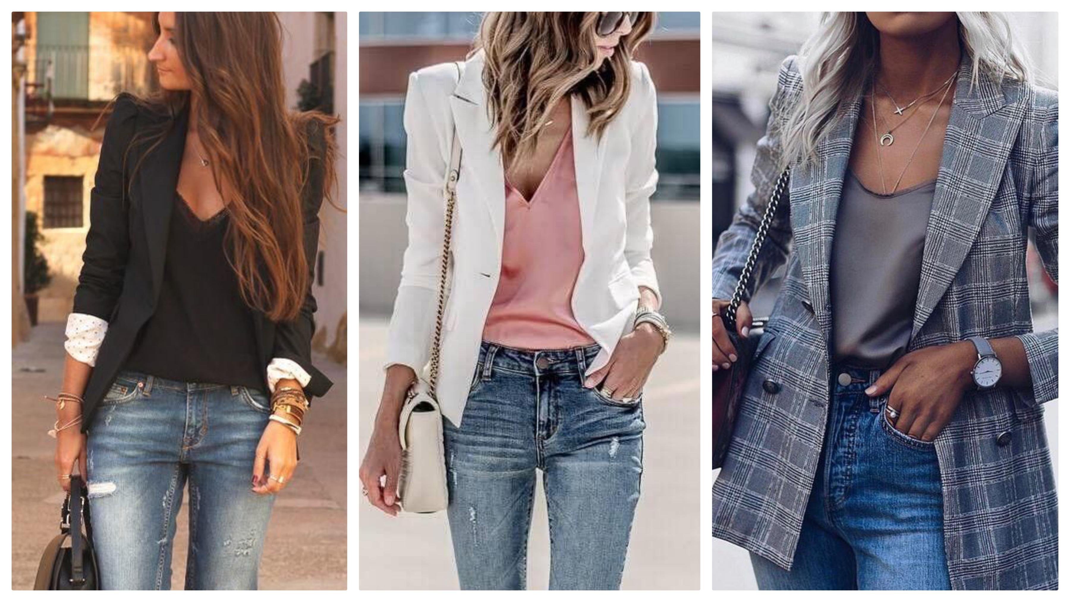 Топ, джинсы и пиджак