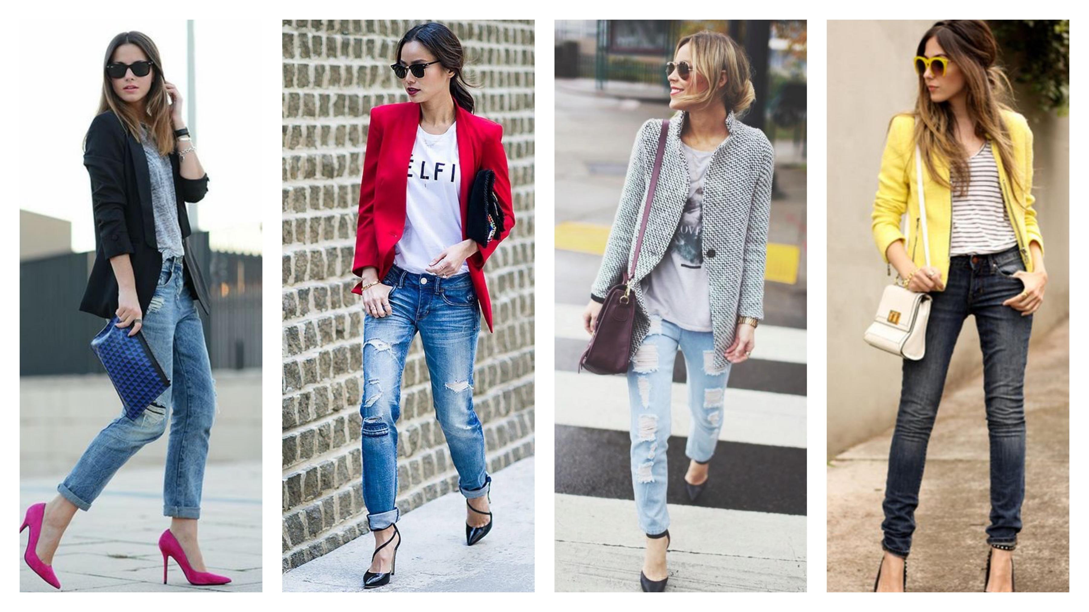 Джинсы, пиджак и футболка