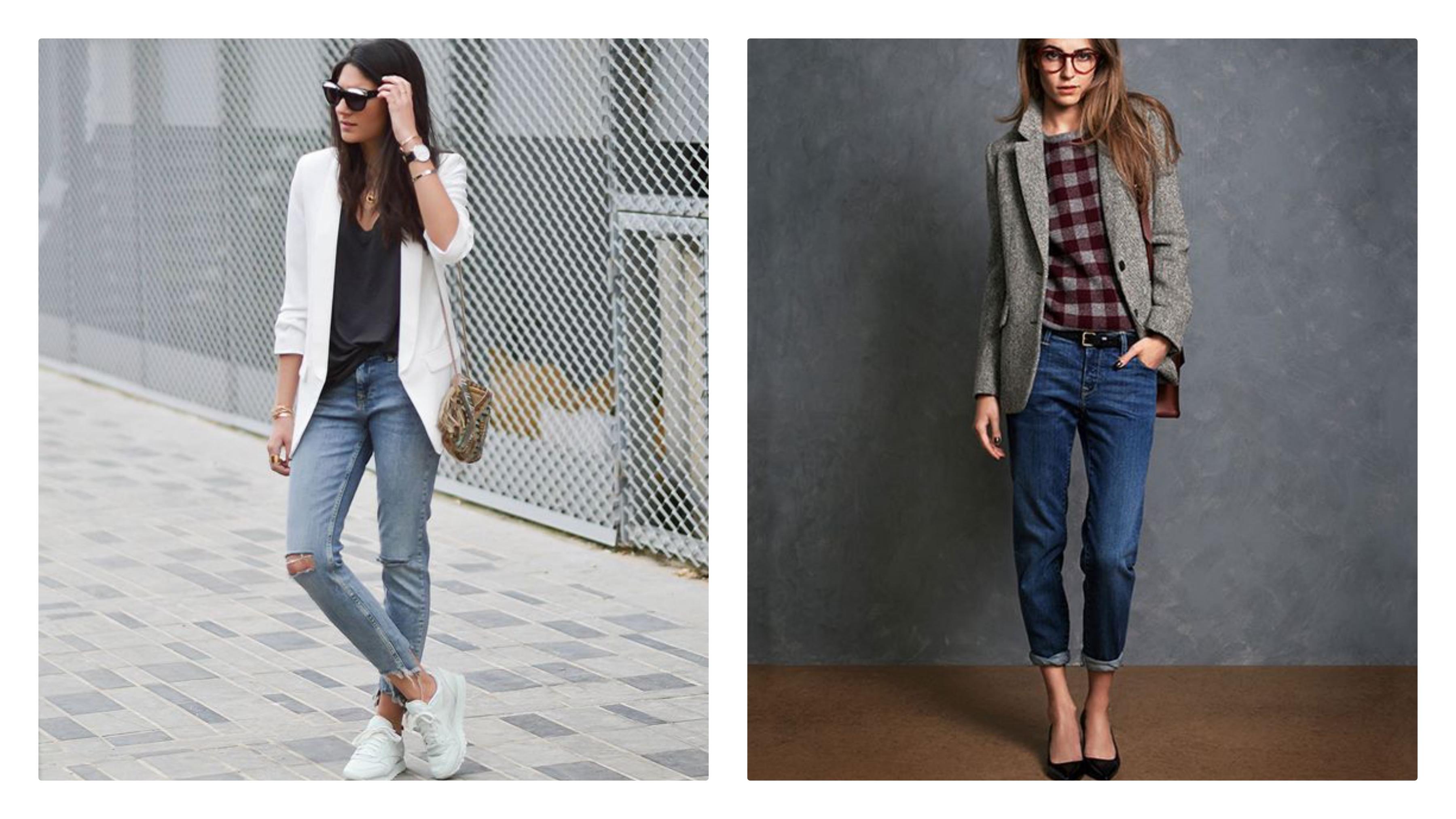 Джинсы, пиджак - модный лук