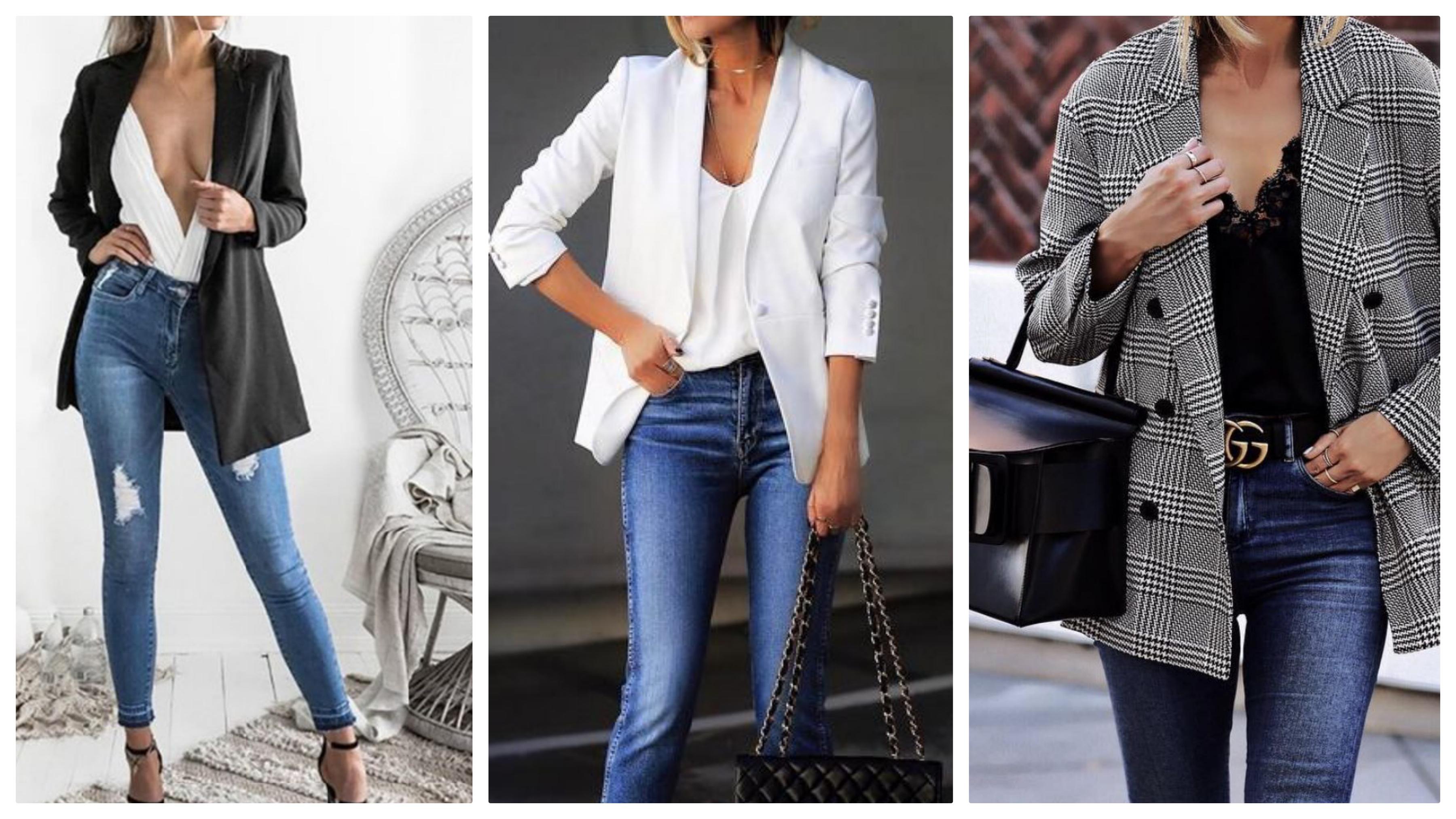 Джинсы, пиджак и топ в бельевом стиле