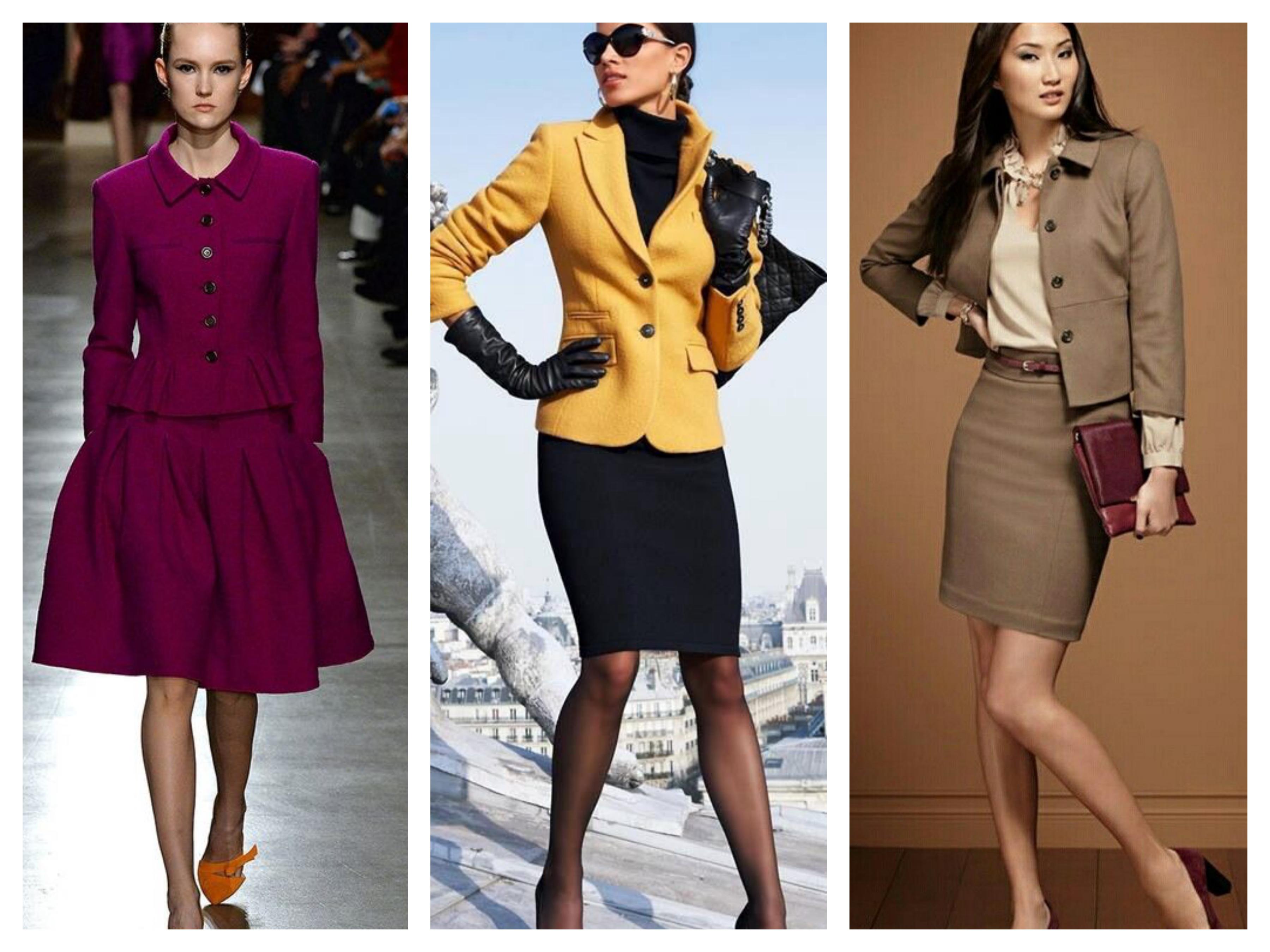 Пиджак и юбка - цвета костюмов