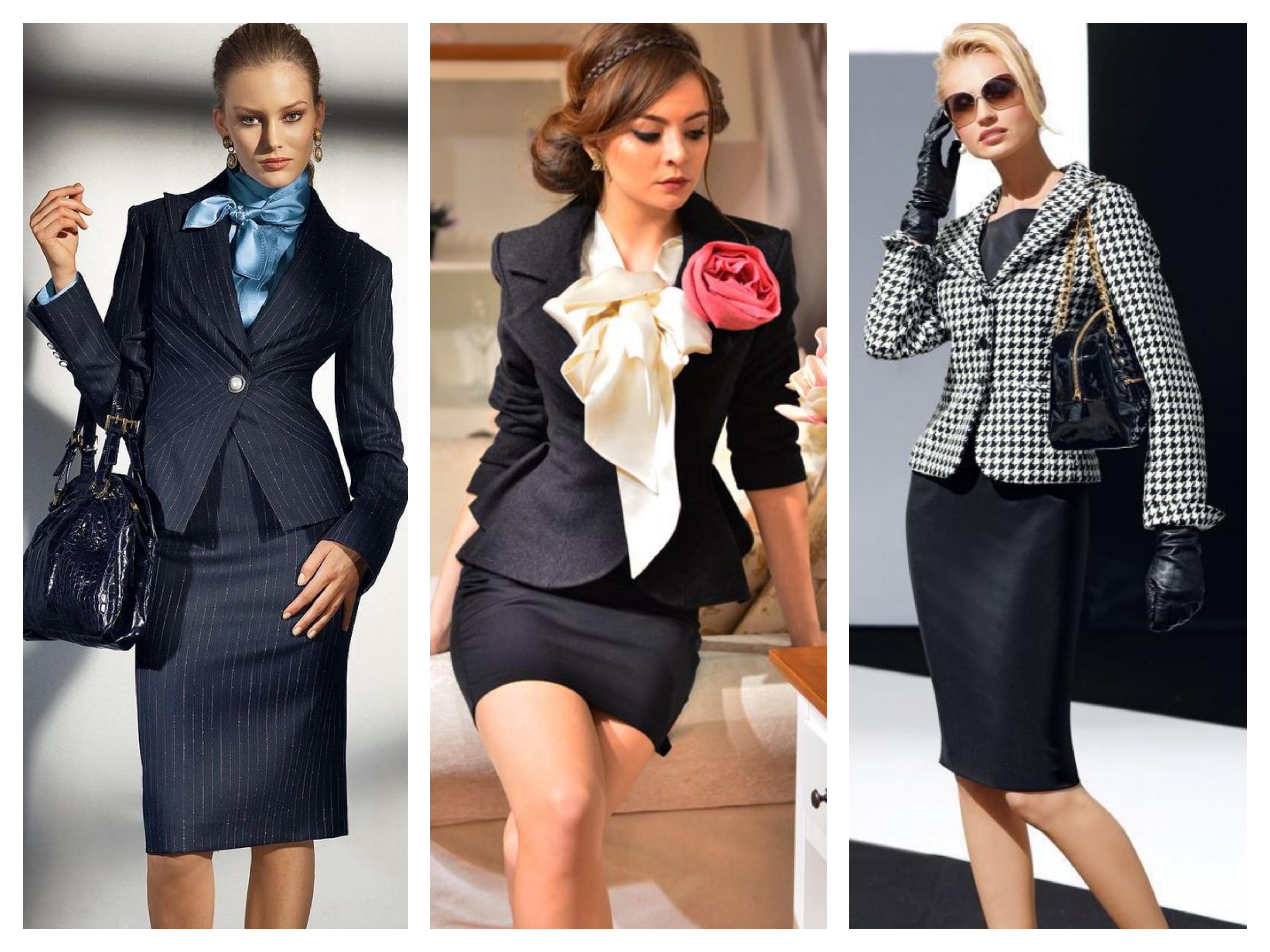 Аксессуары для делового костюма пиджак и юбка
