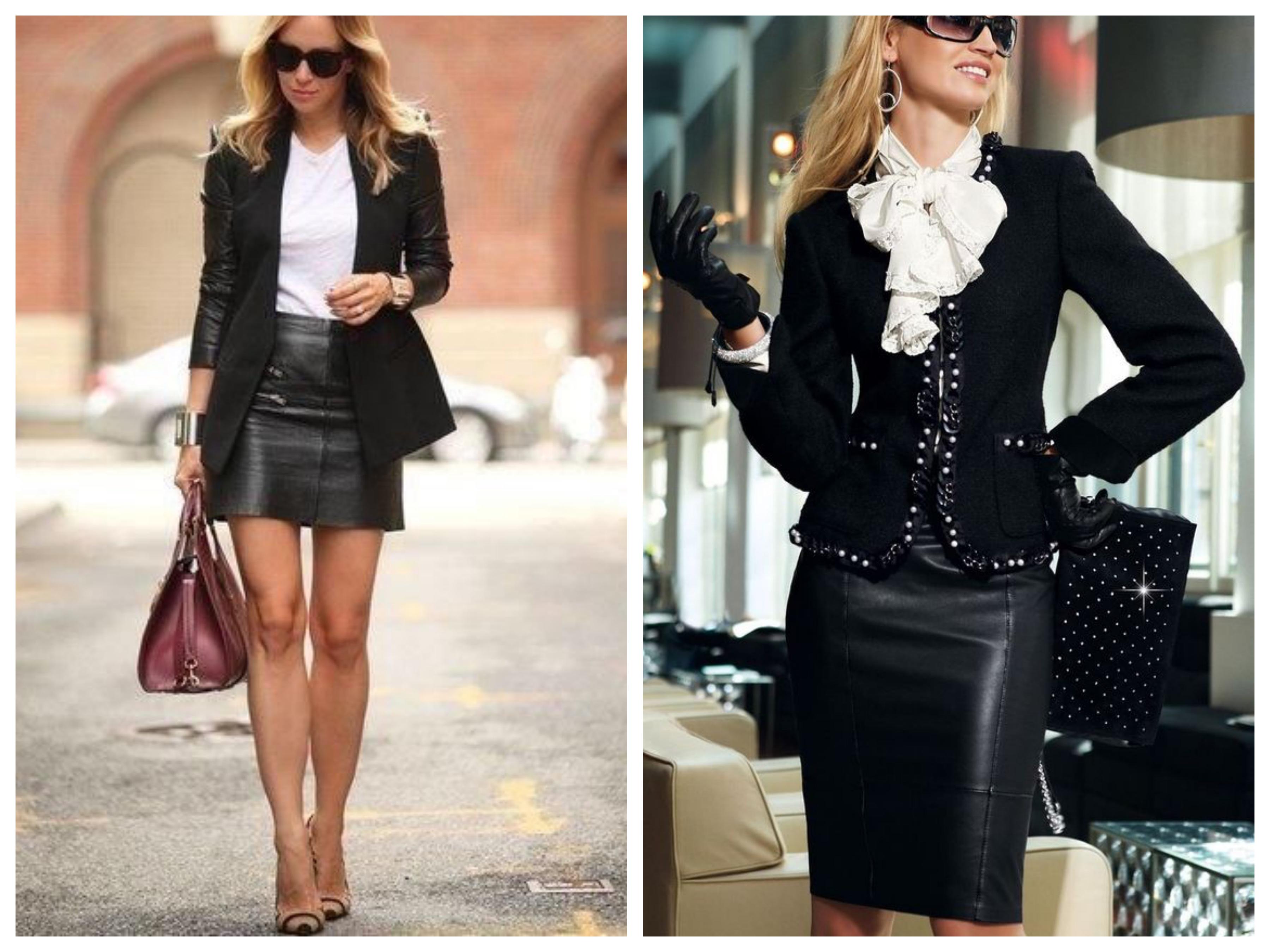 Кожаный костюм - Пиджак и юбка