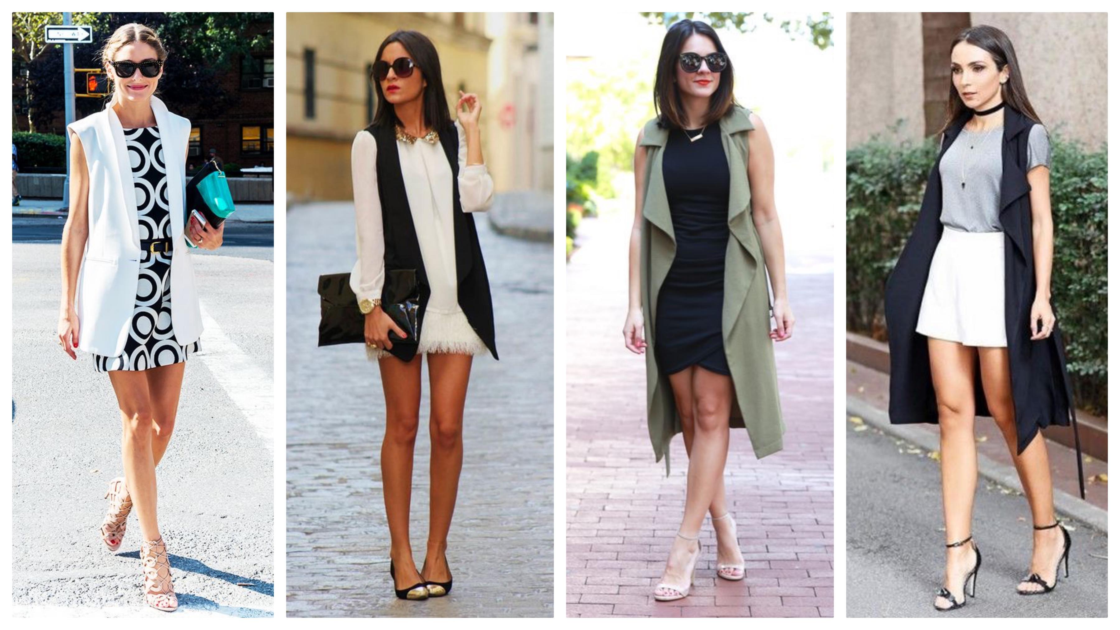 Пиджак без рукавов с платьем