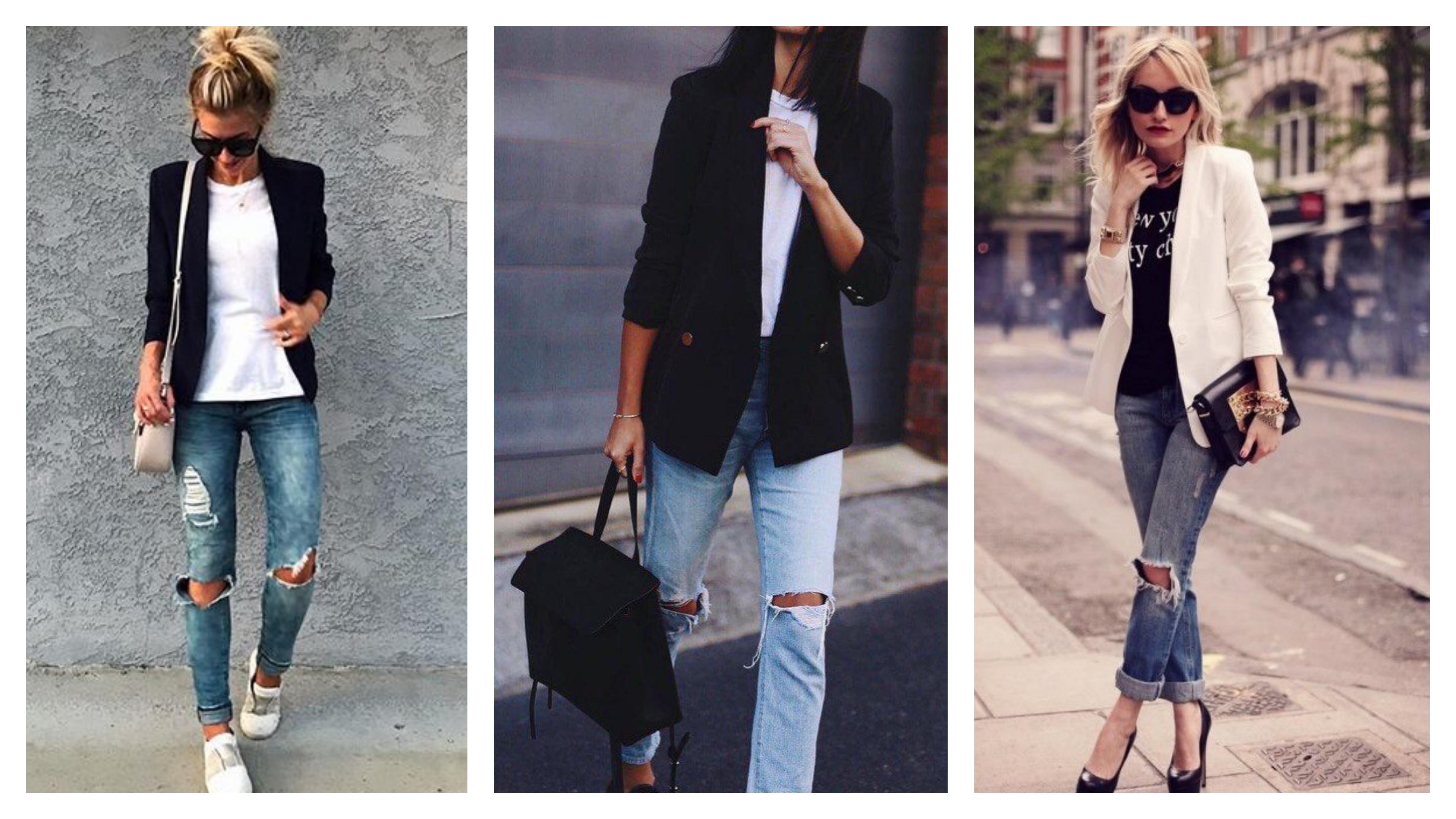 Рваные джинсы и пиджак