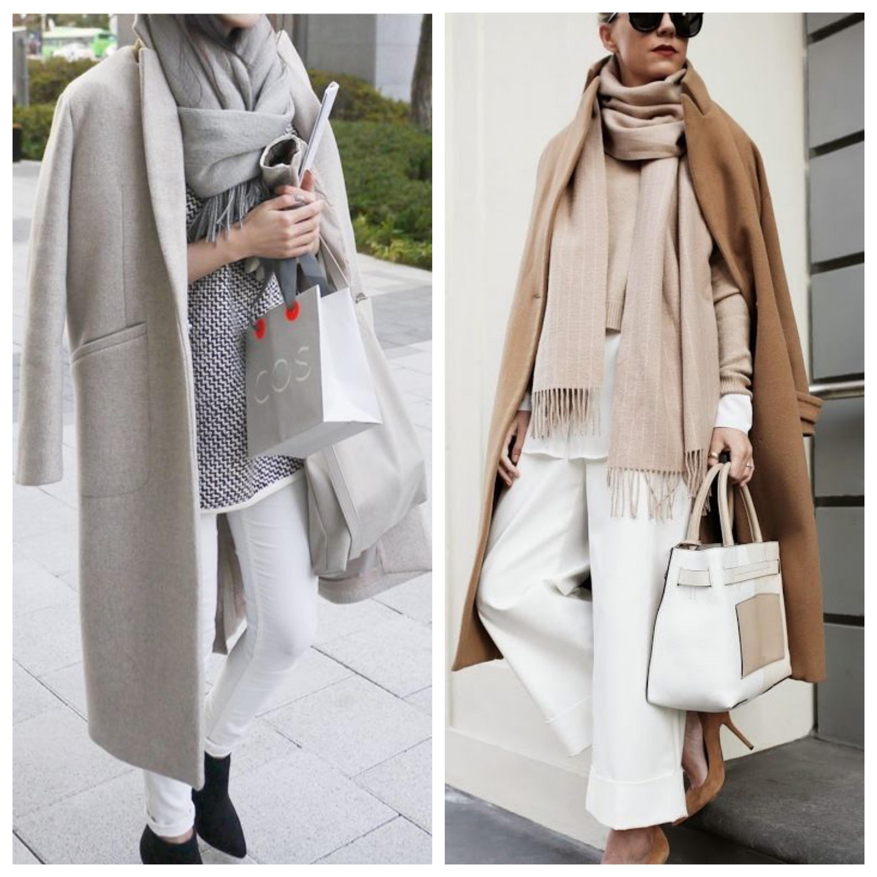 Как носить шарф с пальто с воротником