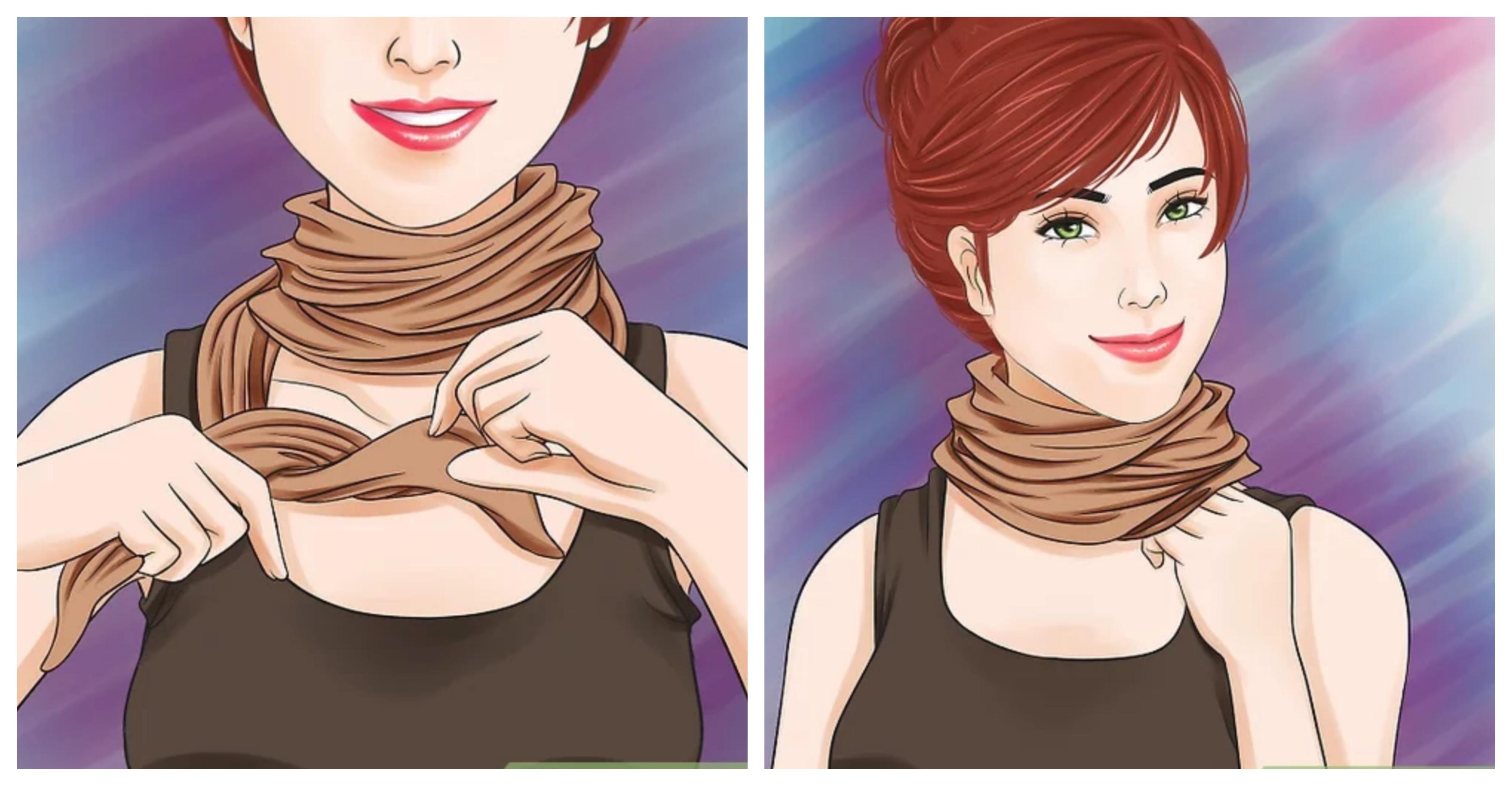 """Как завязать шарф узлом """"водолазка"""""""