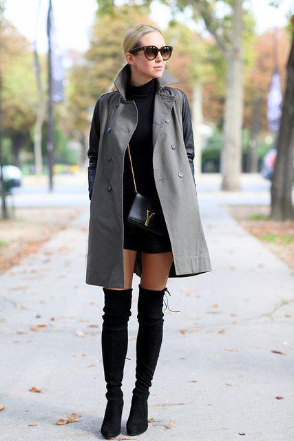 Серое женское пальто с кожаными рукавами